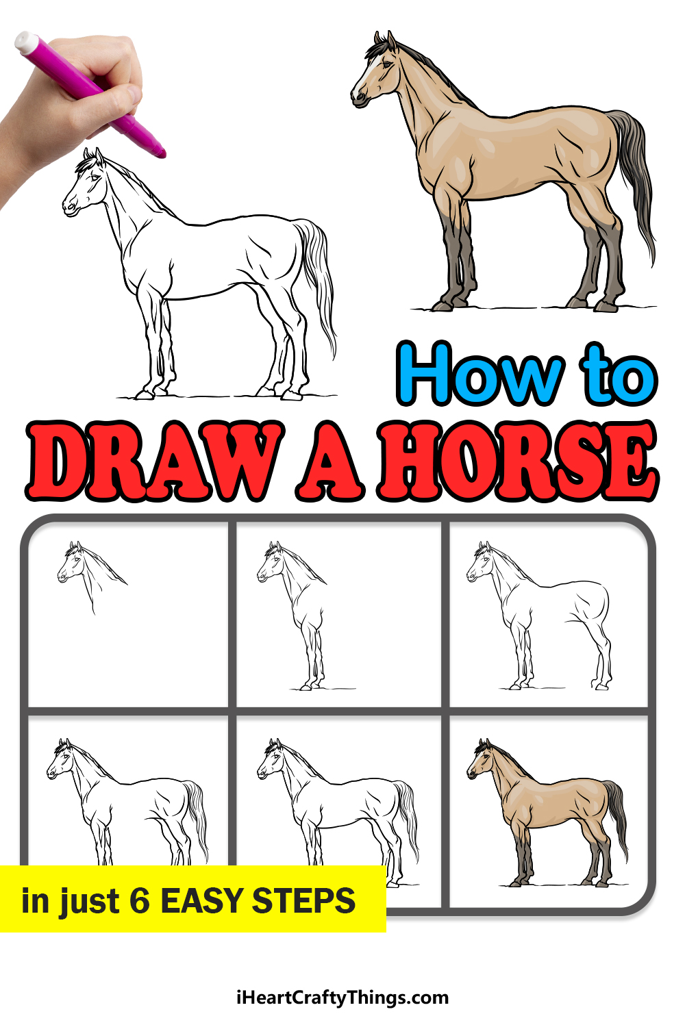 how to draw a horse in 6 easy steps