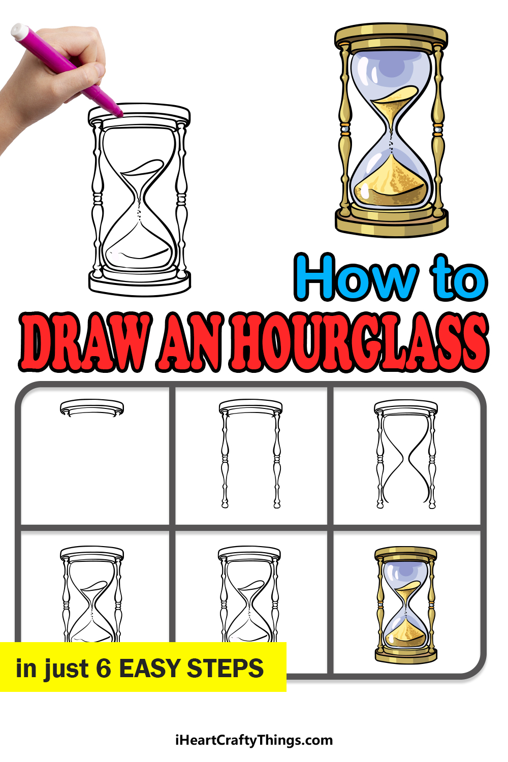 how to draw an hourglass in 6 easy steps