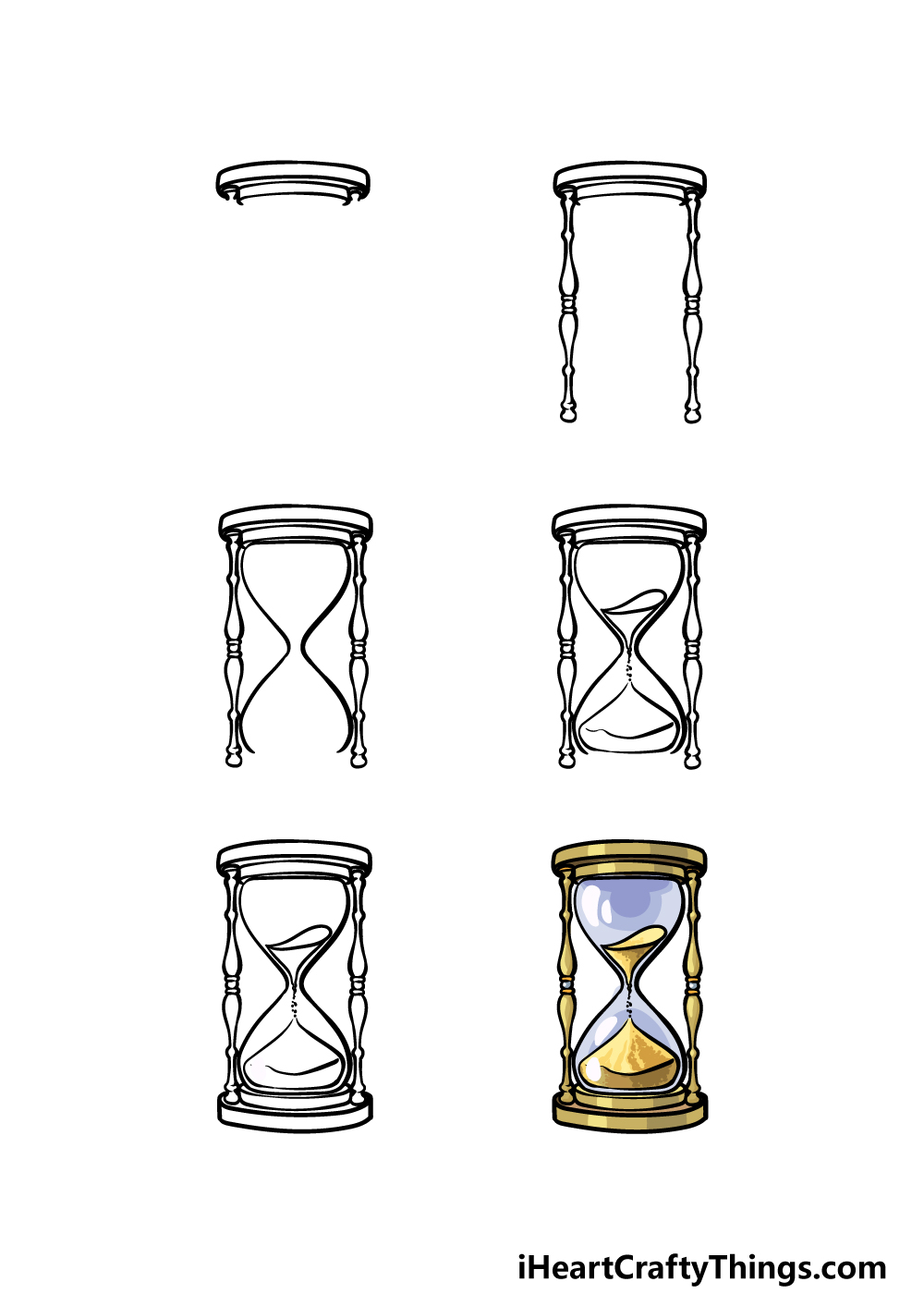 how to draw an hourglass in 6 steps