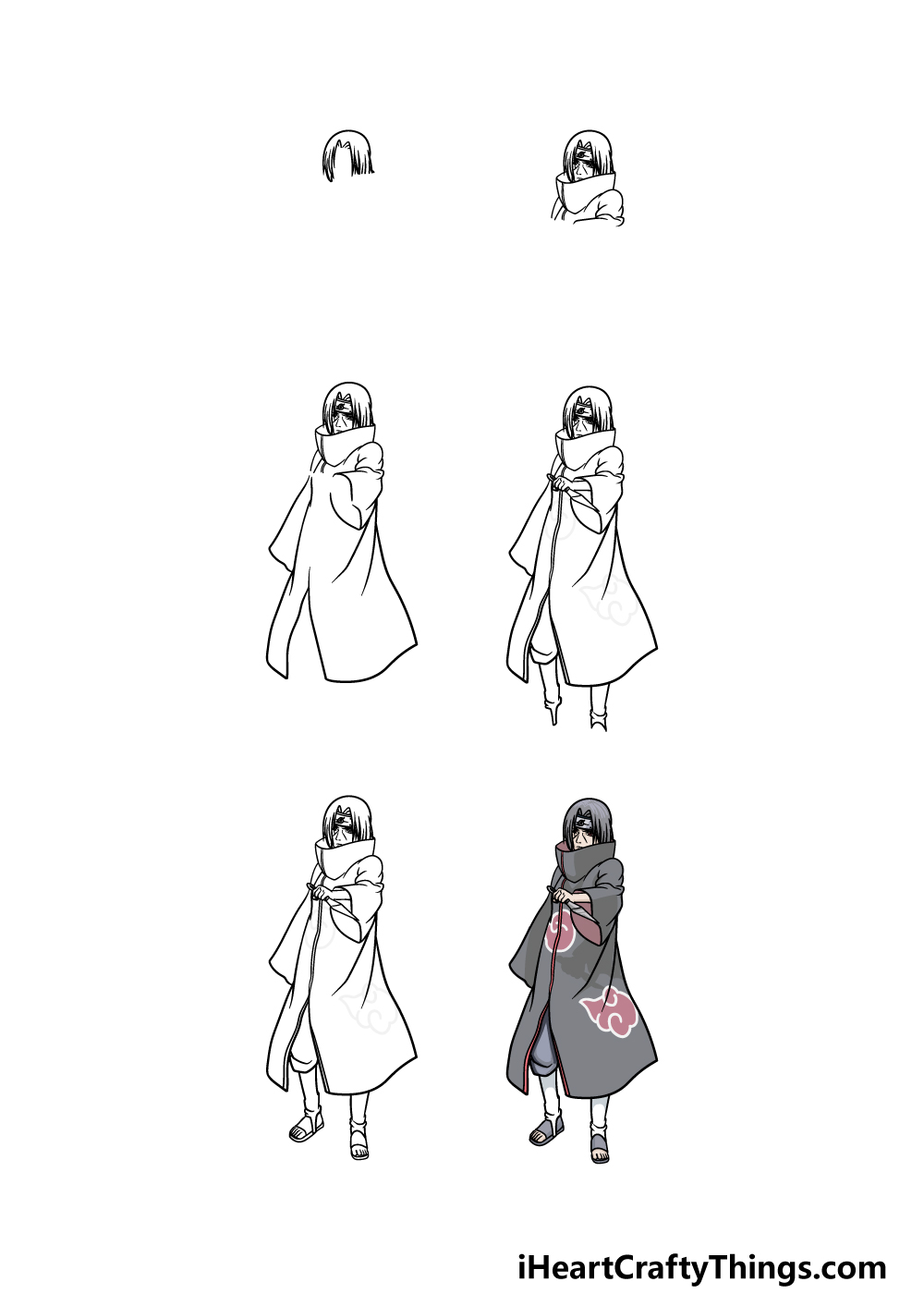 how to draw Itachi in 6 steps
