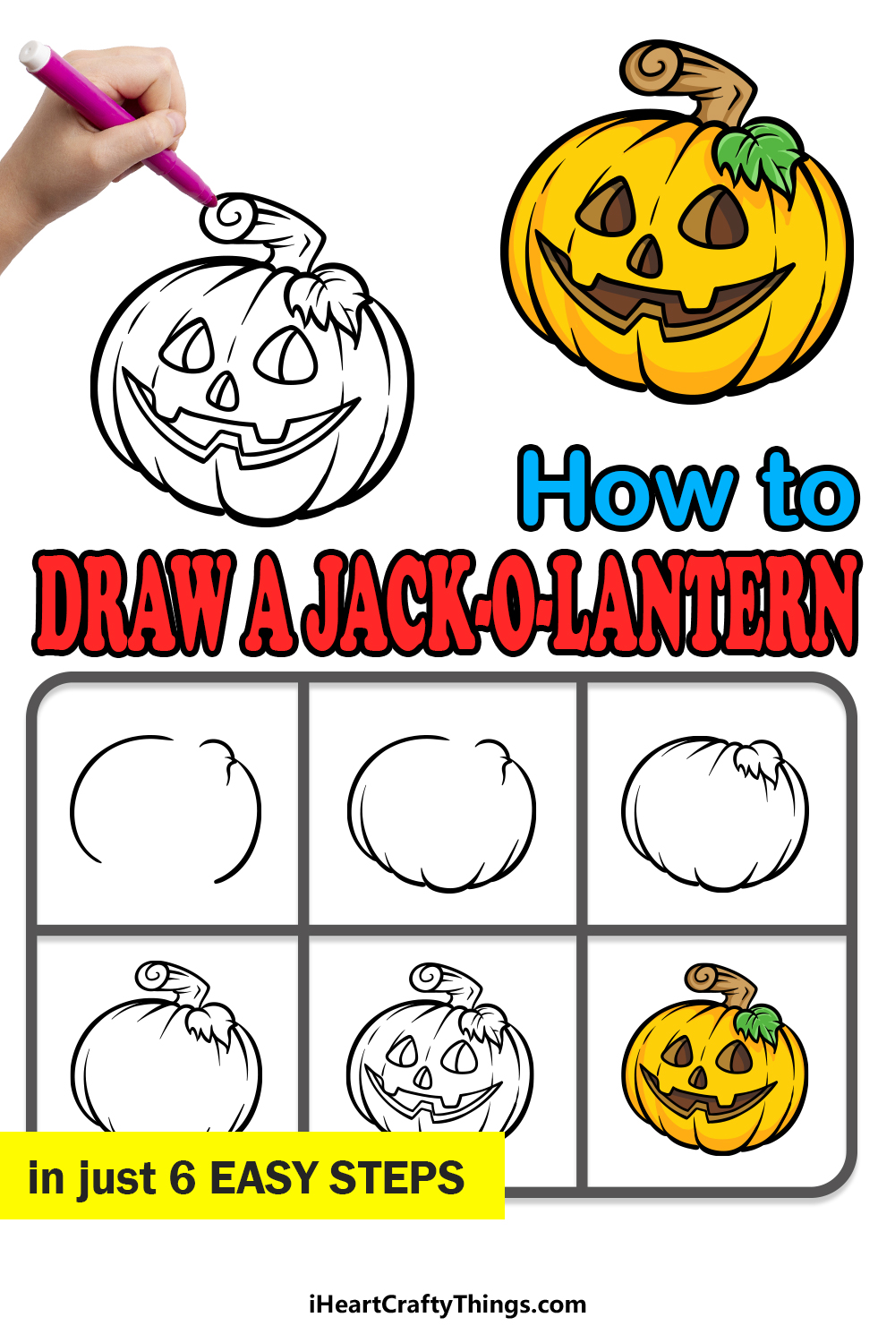 how to draw a jack-o-lantern in 6 easy steps