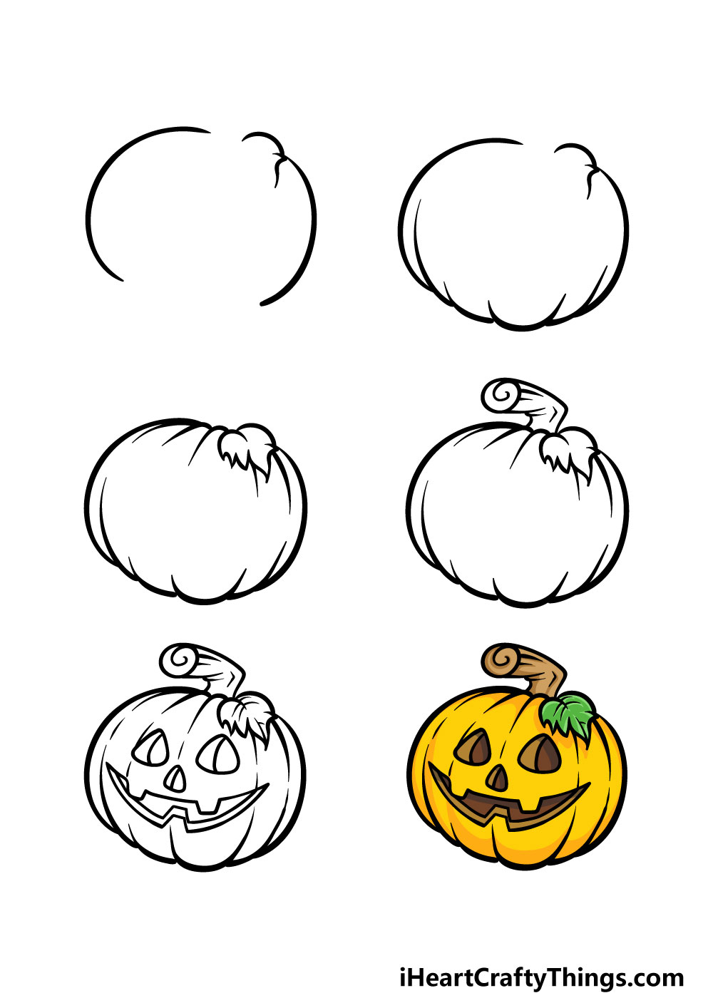 how to draw jack-o-lantern in 6 steps
