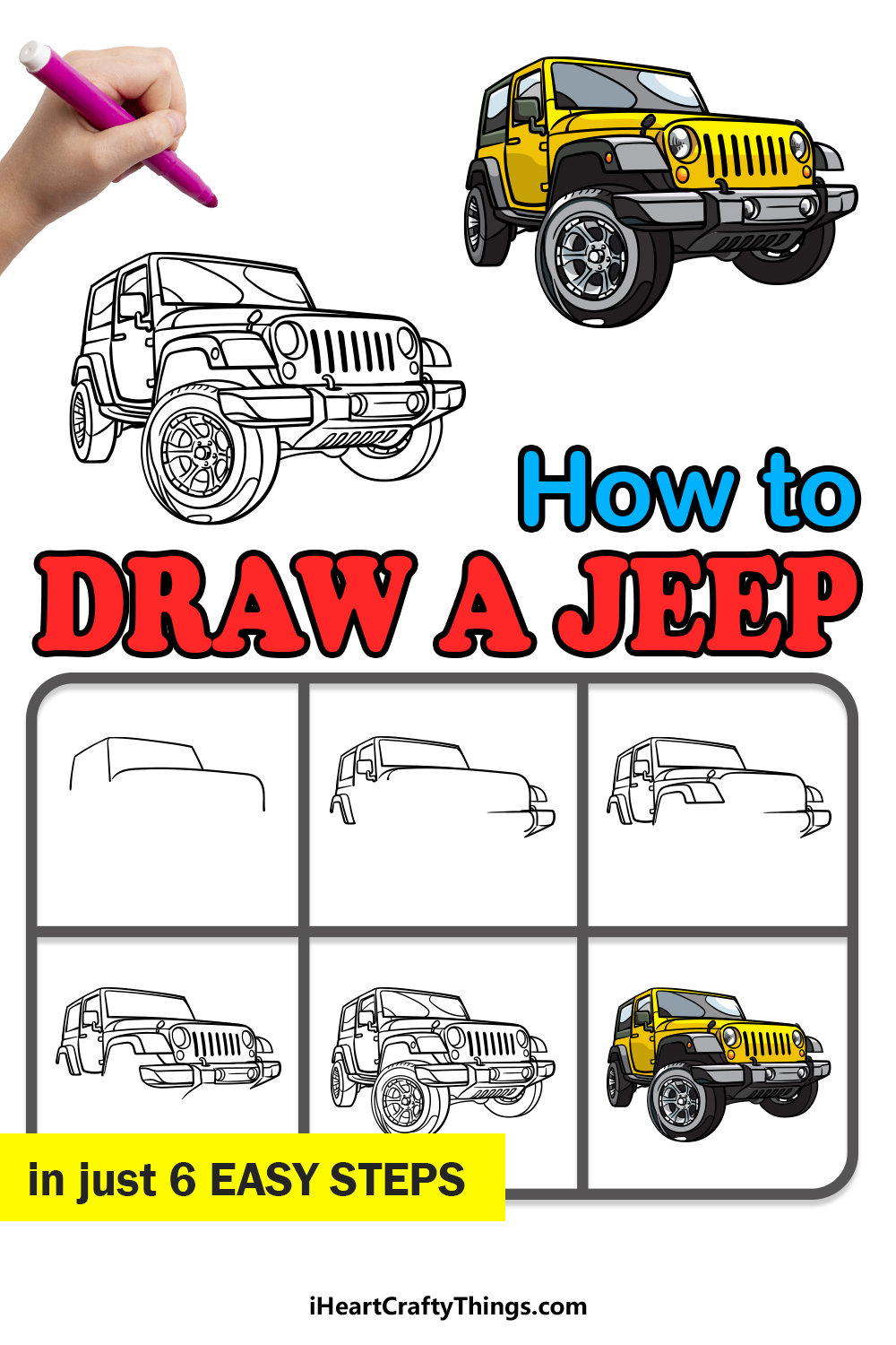 how to draw a jeep in 6 easy steps