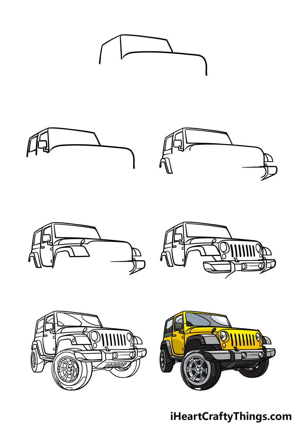 how to draw a jeep in 6 steps