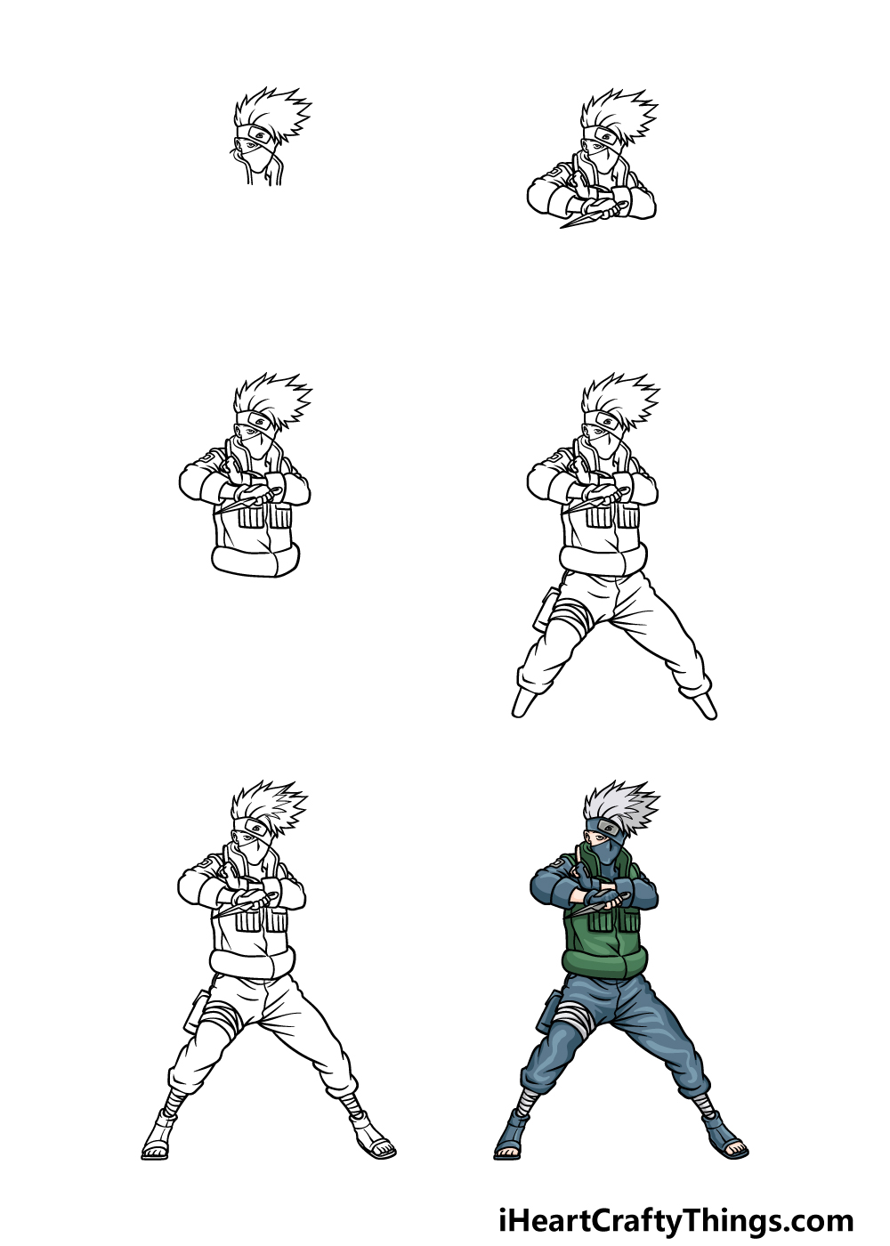 how to draw Kakashi in 6 steps