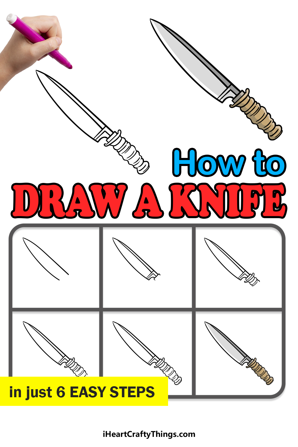 how to draw a knife in 6 easy steps