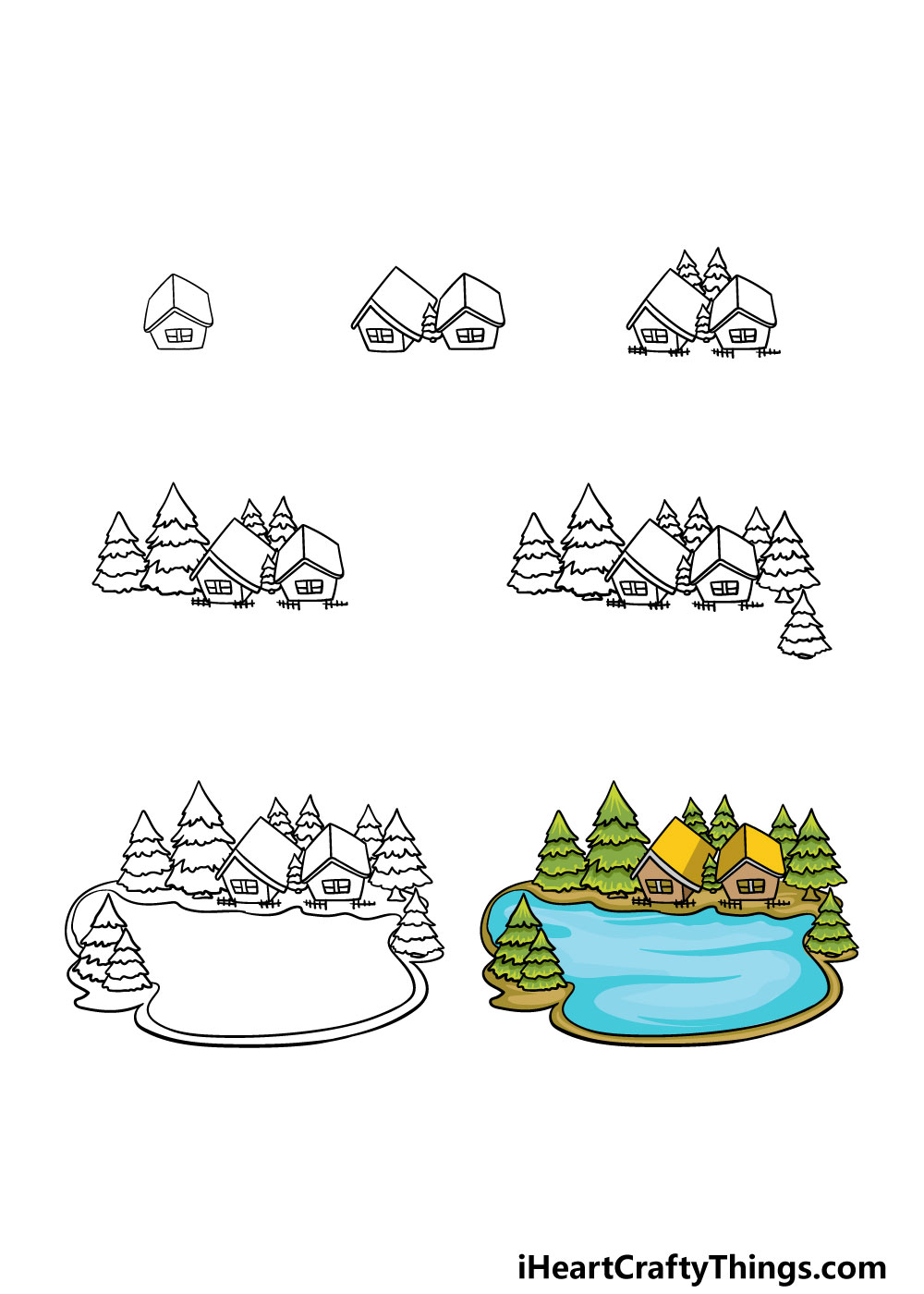 how to draw a lake in 7 steps