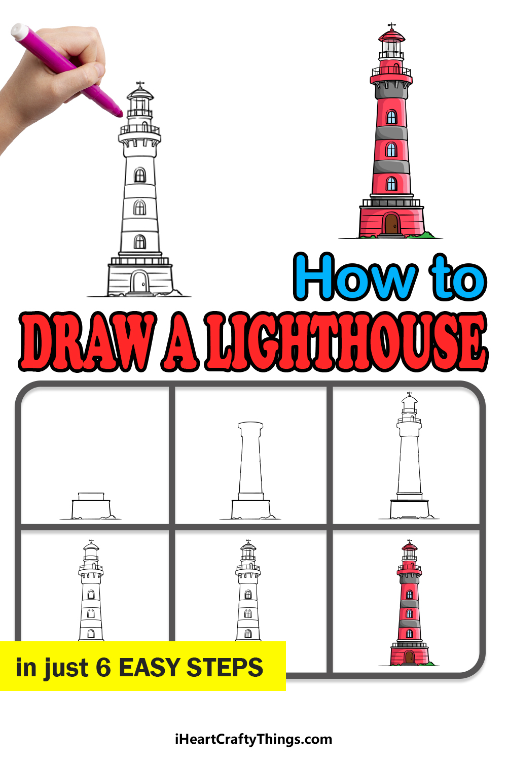 how to draw a lighthouse in 6 easy steps