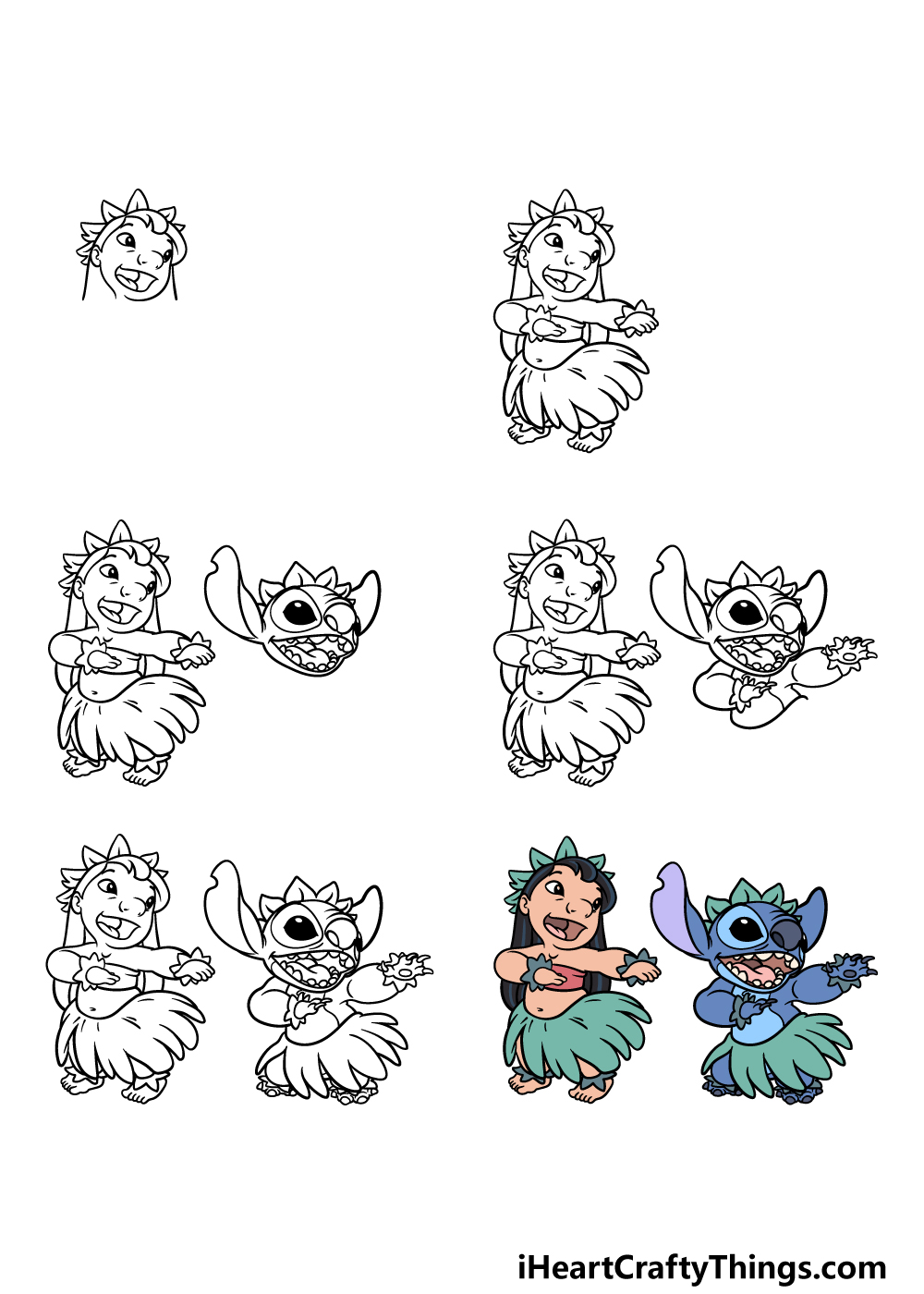 how to draw Lilo and Stitch in 6 steps