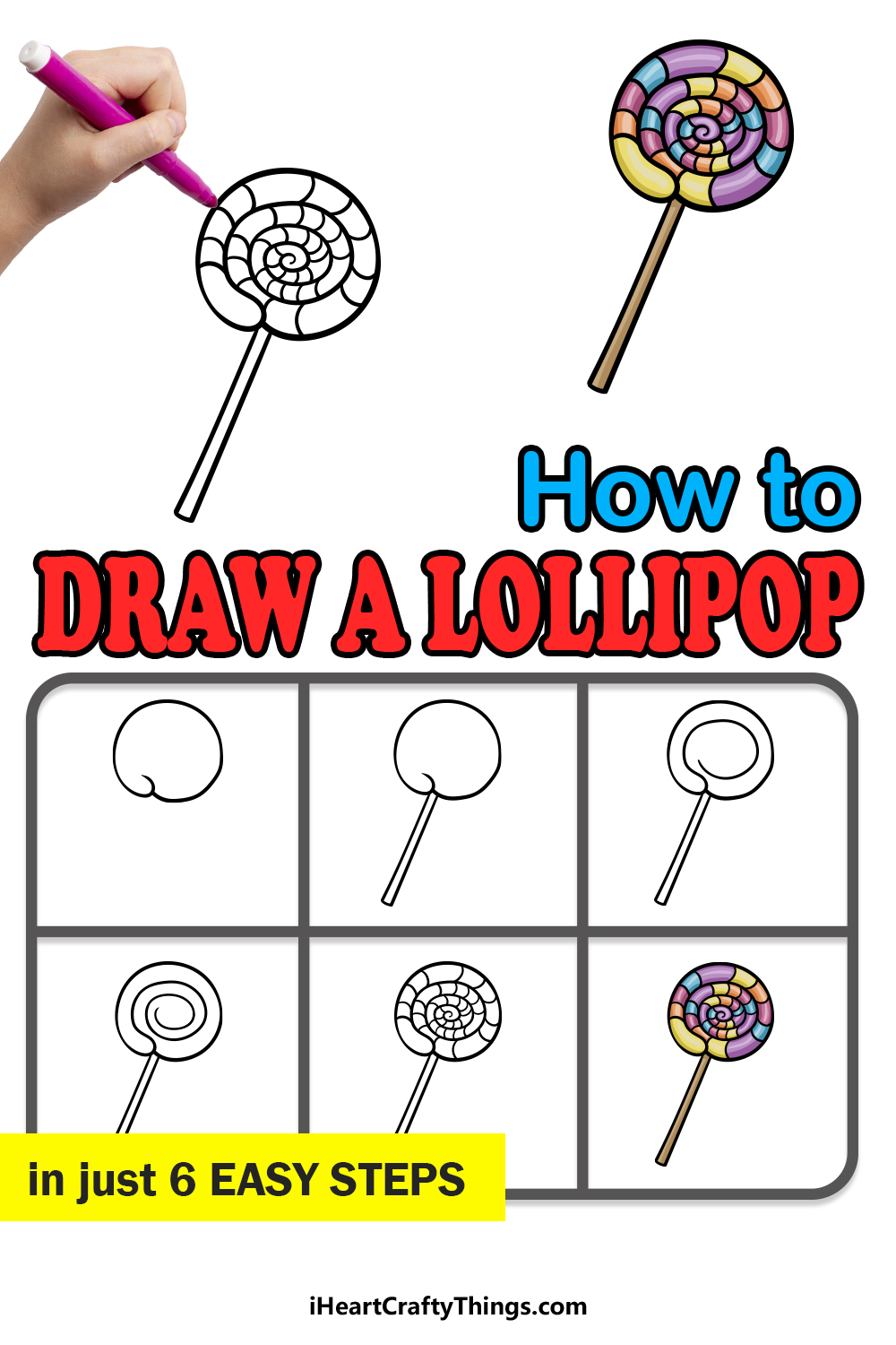 how to draw a lollipop in 6 easy steps