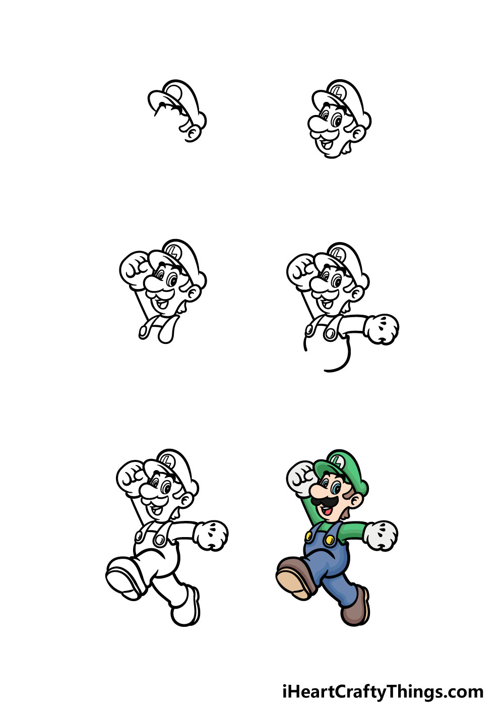 how to draw luigi in 6 steps