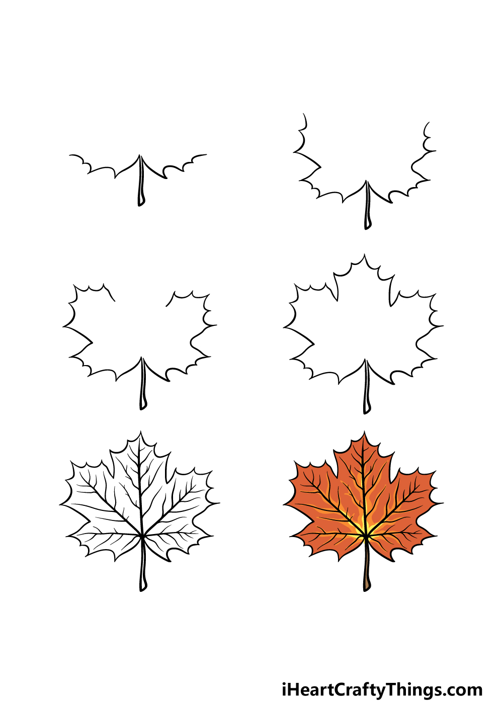 how to draw a maple leaf in 6 steps
