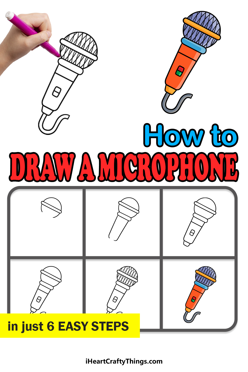 how to draw a microphone in 6 easy steps