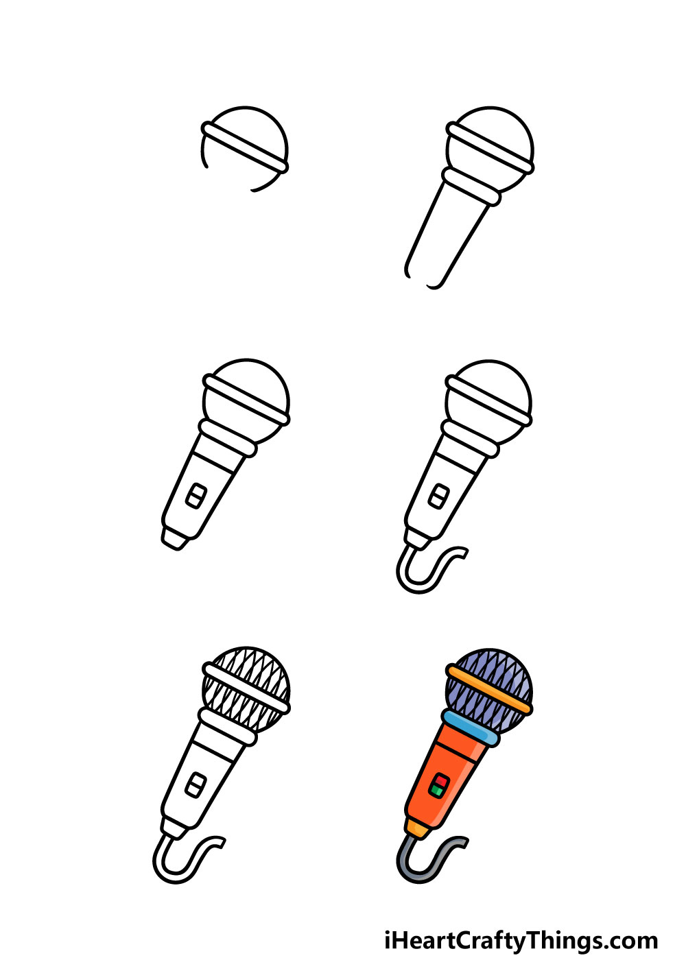how to draw a microphone in 6 steps
