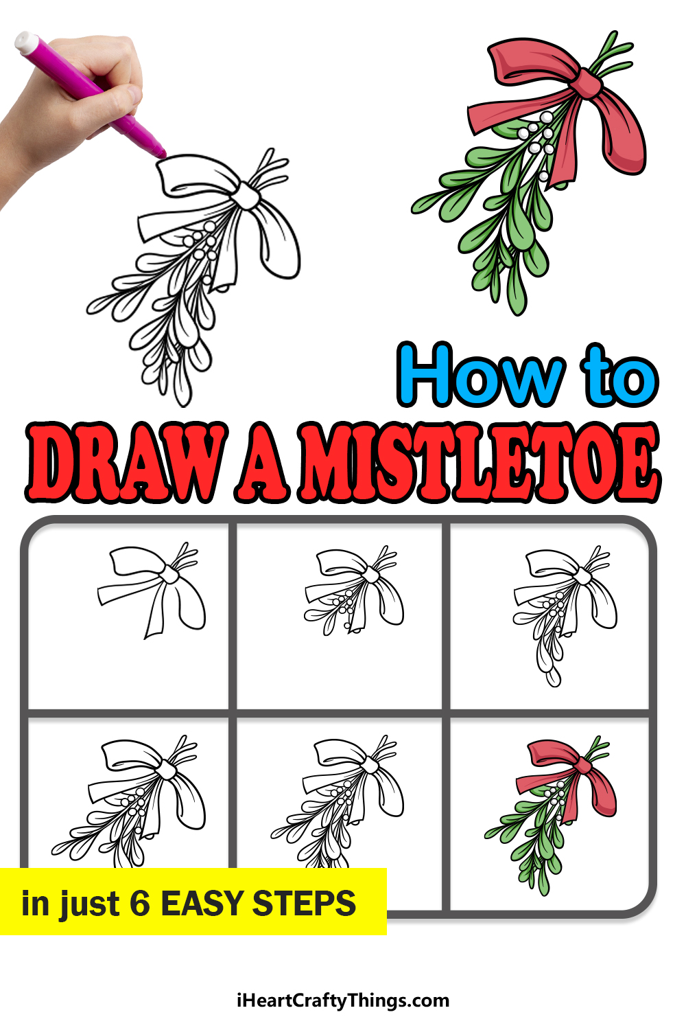how to draw a mistletoe in 6 easy steps