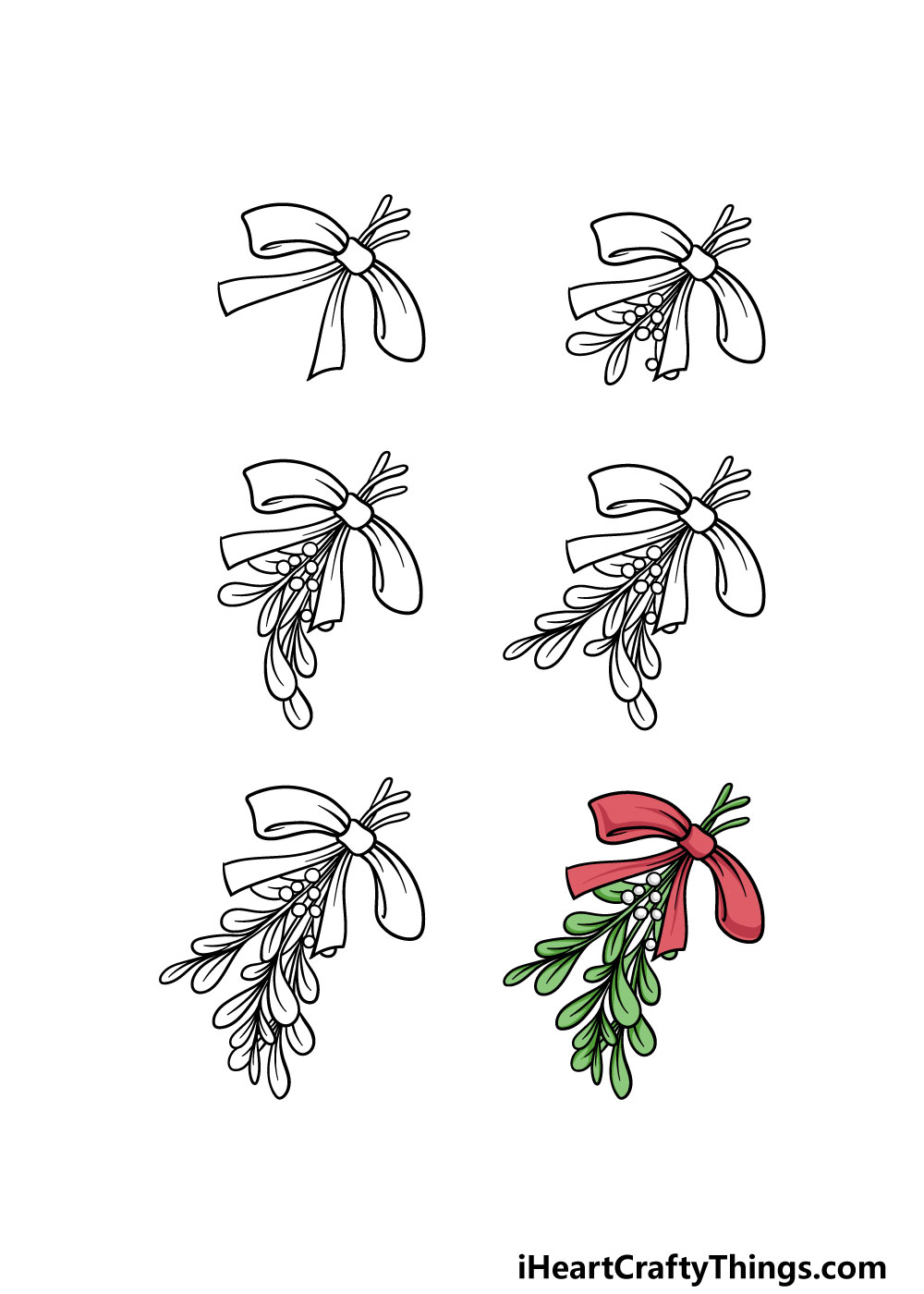 how to draw a mistletoe in 6 steps