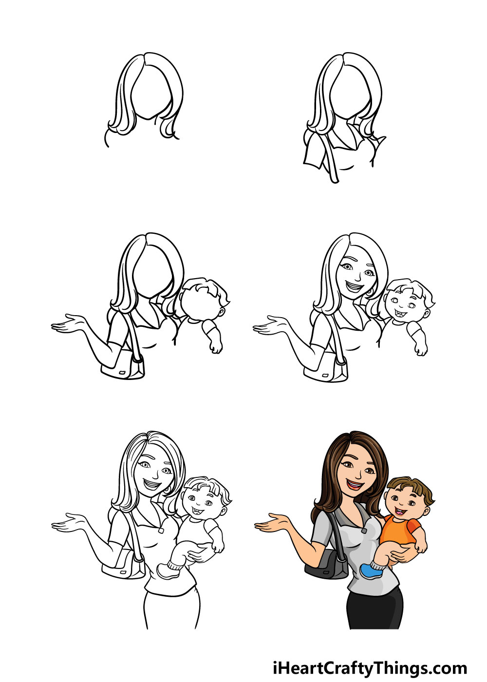 how to draw a mom in 6 steps