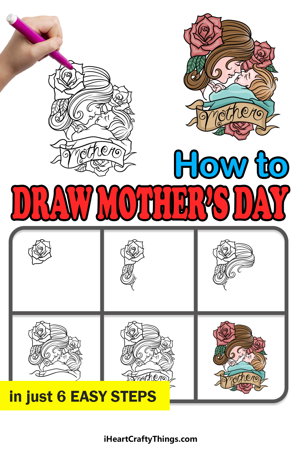 how to draw mother's day in 6 easy steps