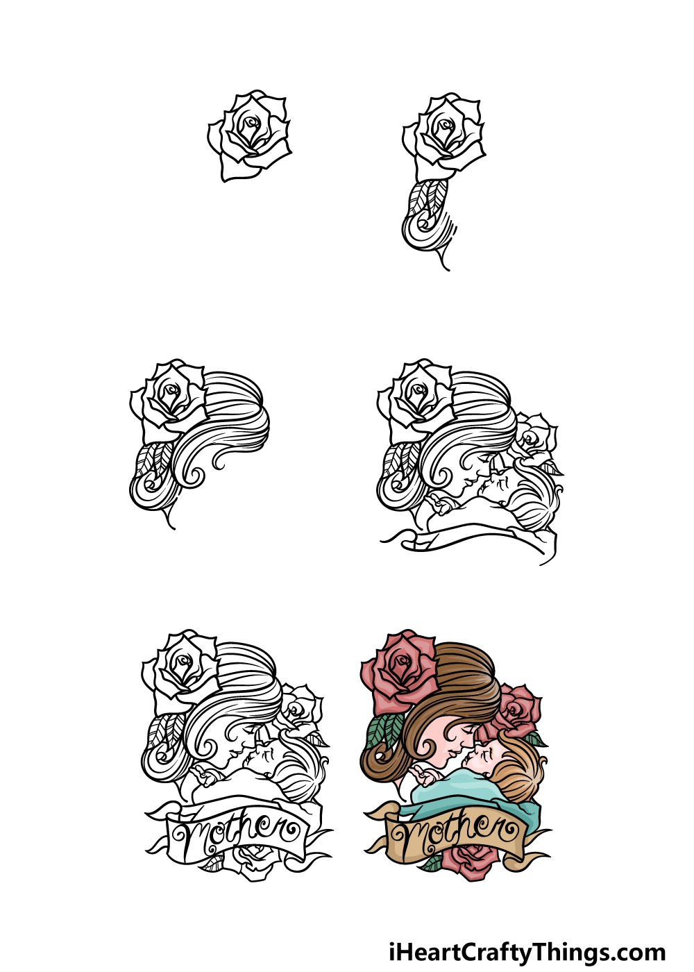 how to draw mother's day in 6 steps