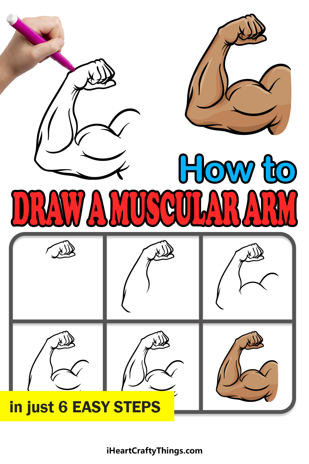 how to draw a muscular arm in 6 easy steps
