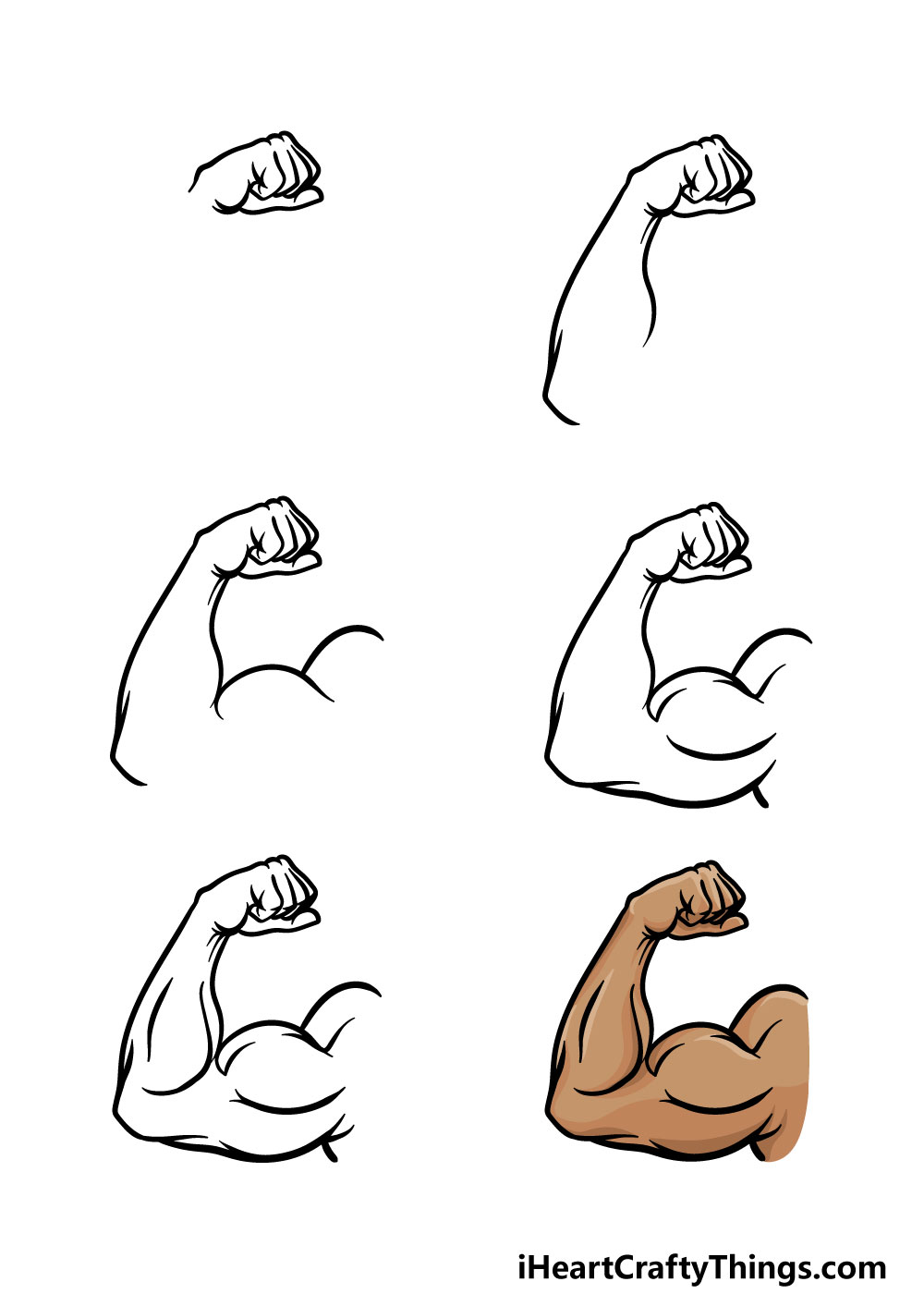 how to draw a muscular arm in 6 steps