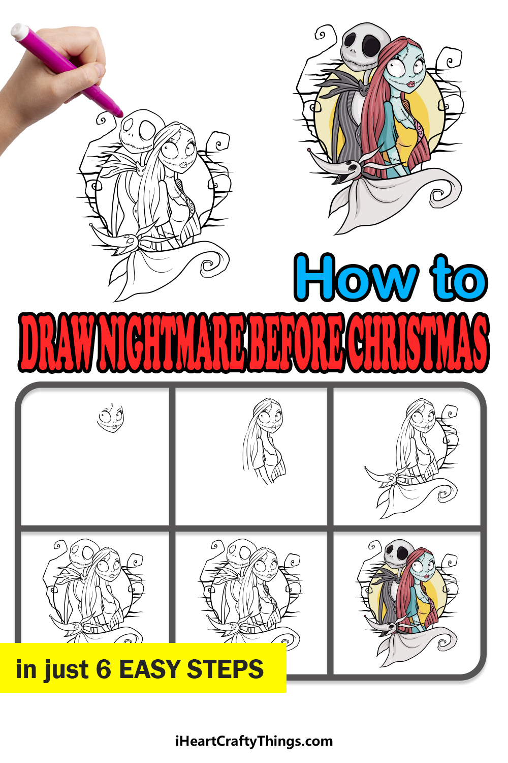 how to draw Nightmare Before Christmas in 6 easy steps