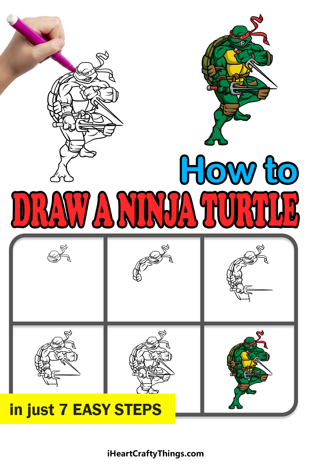 how to draw a ninja turtle in 7 easy steps