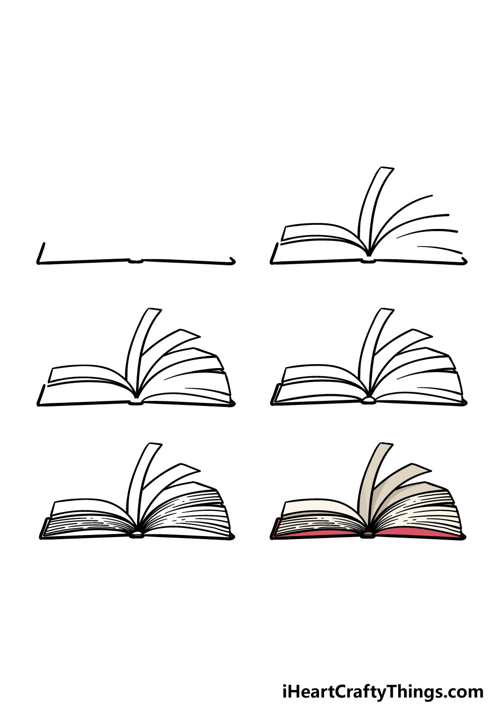 how to draw an open book in 6 steps