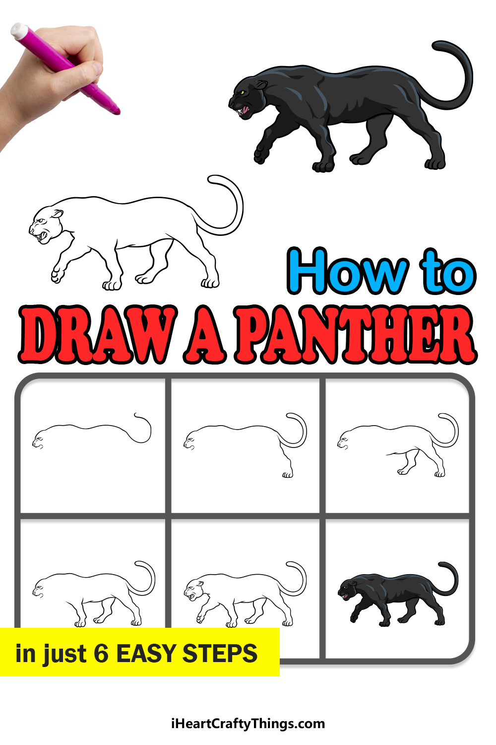 how to draw a panther in 6 easy steps