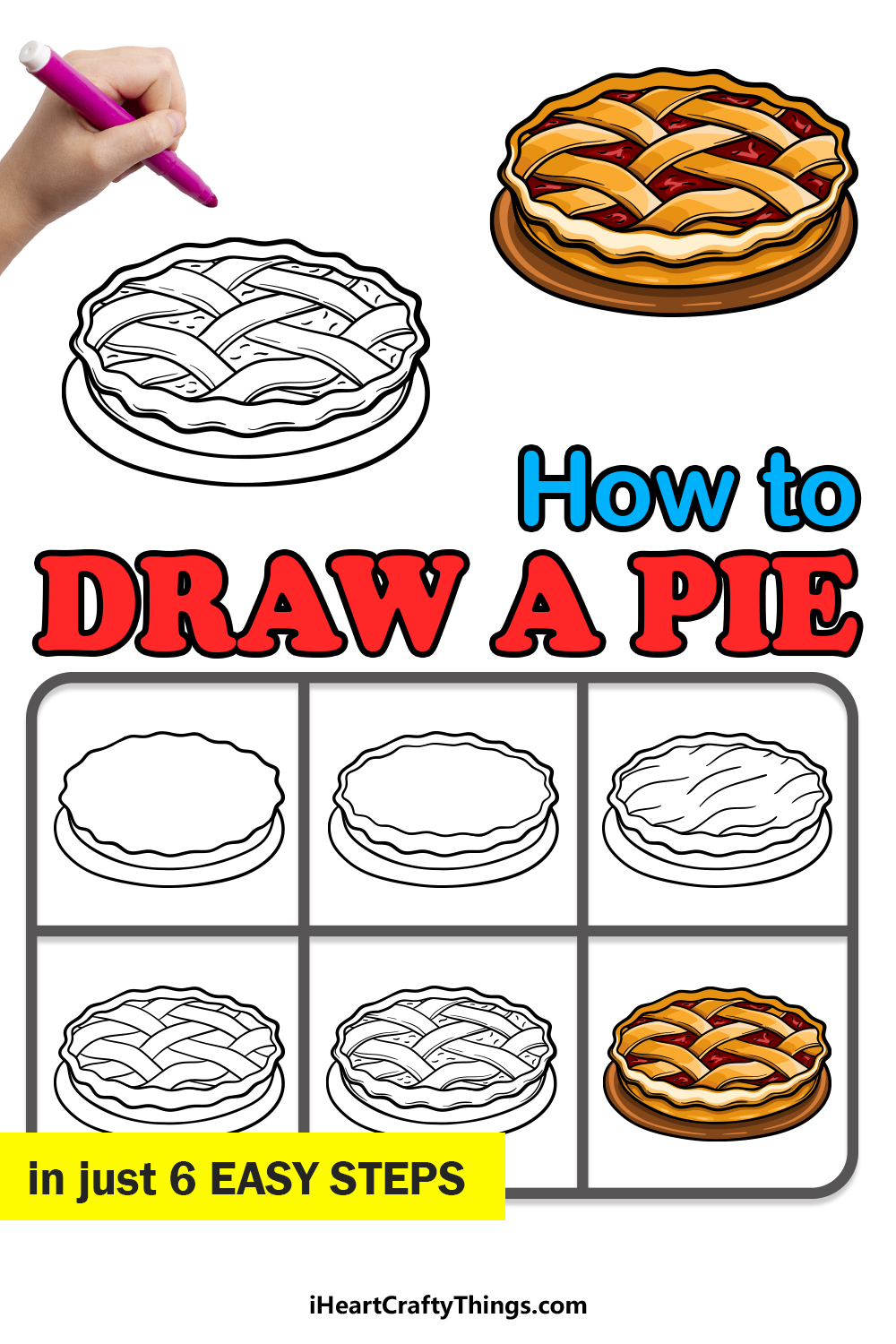 how to draw a pie in 6 easy steps