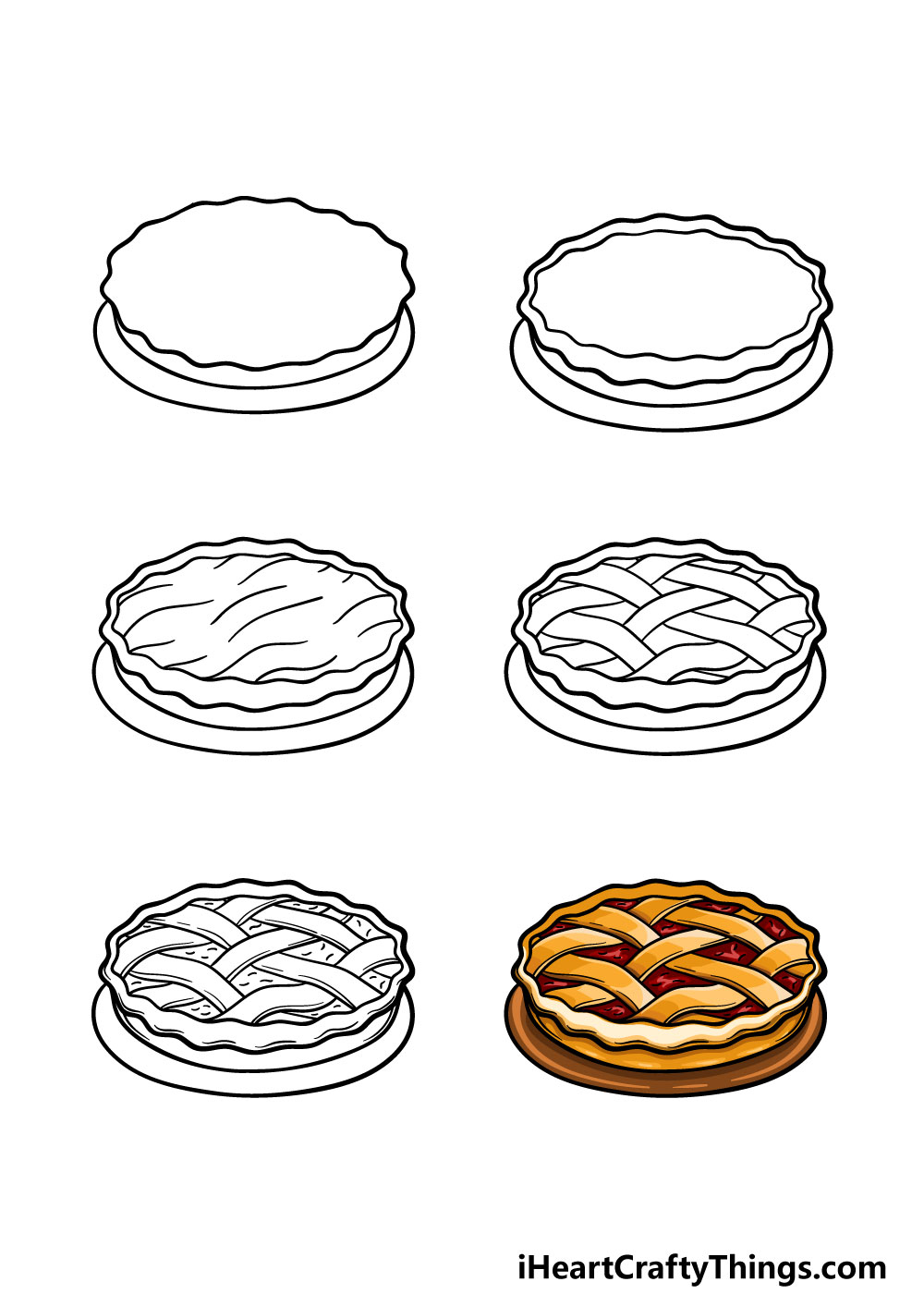 how to draw a pie in 6 steps