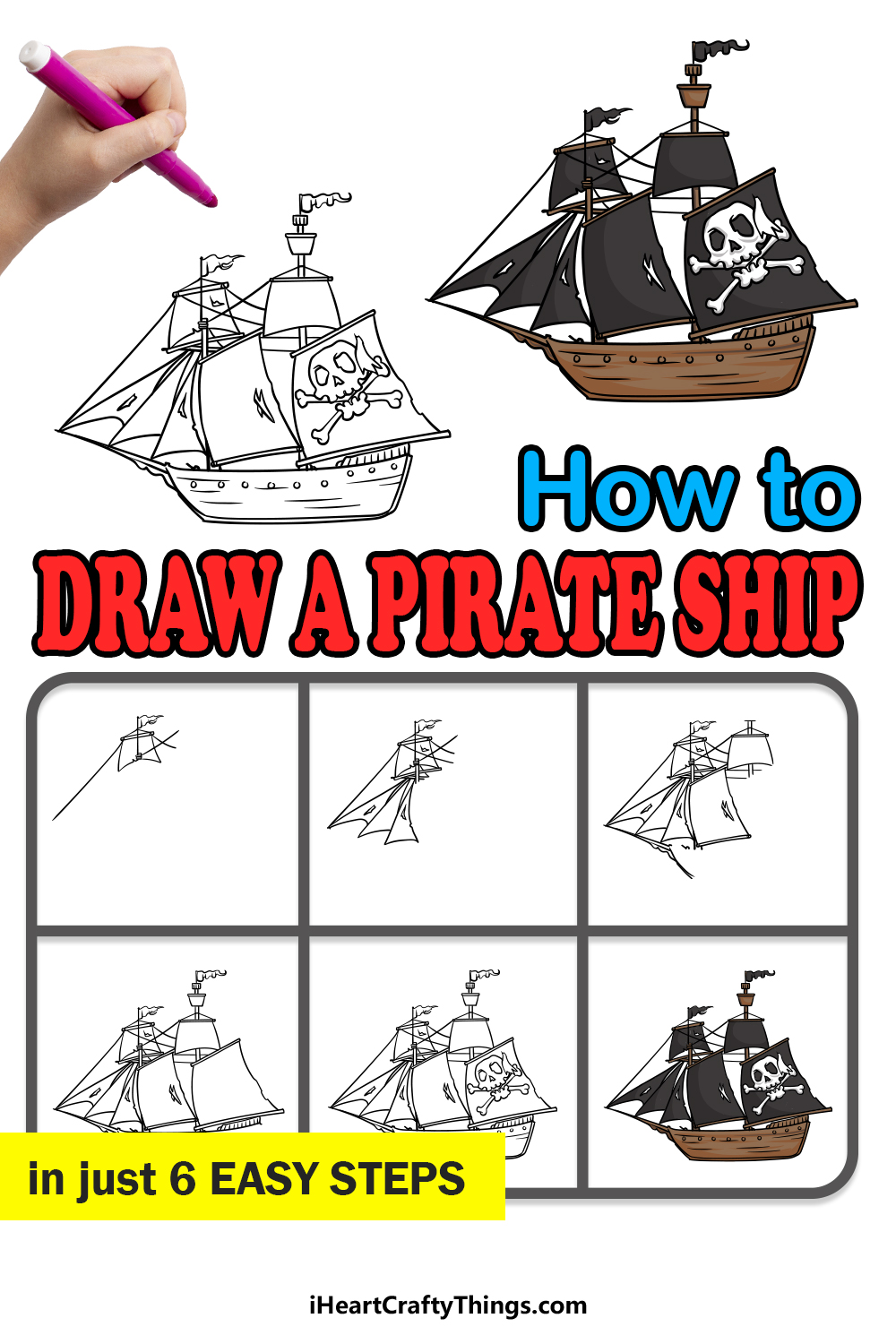 how to draw a pirate ship in 6 easy steps