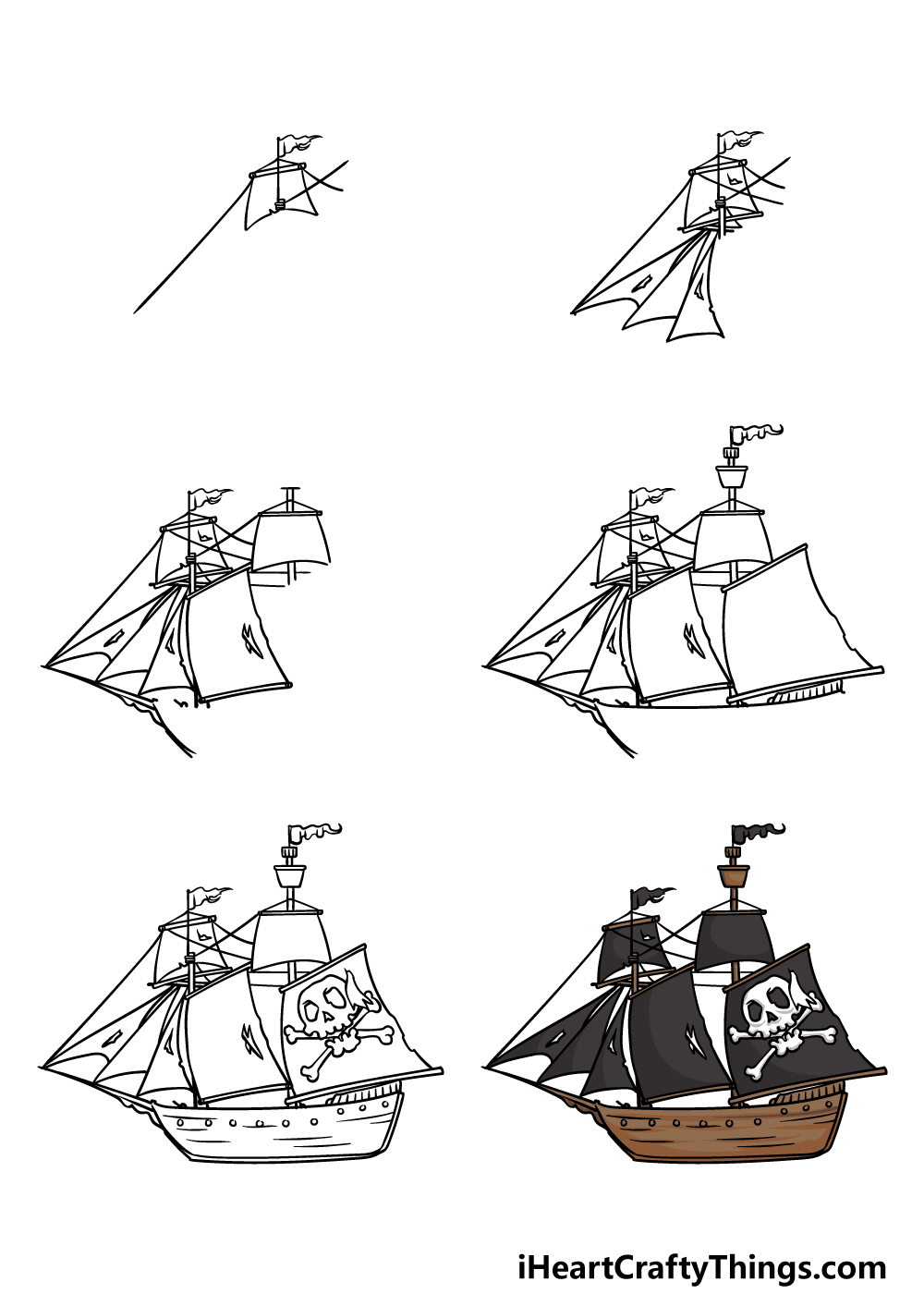 how to draw a pirate ship in 6 steps
