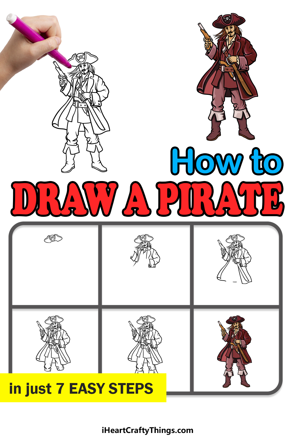 how to draw a pirate in 7 easy steps
