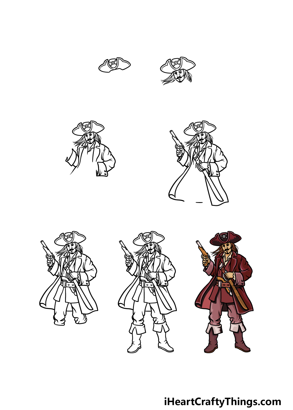 how to draw a pirate in 7 steps