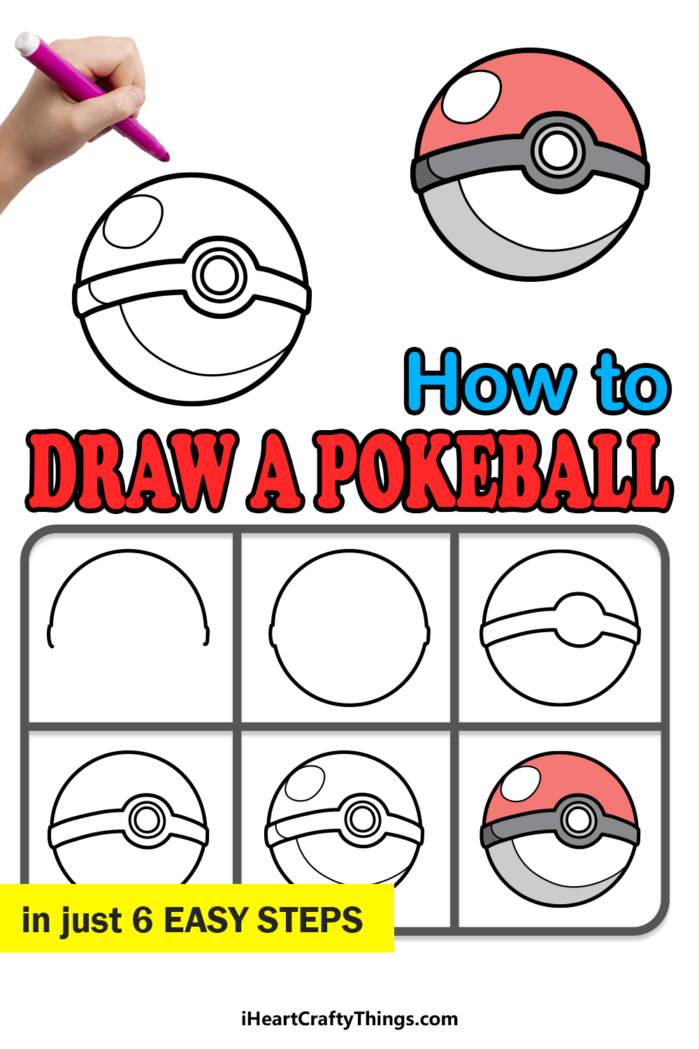 how to draw a pokeball in 6 easy steps