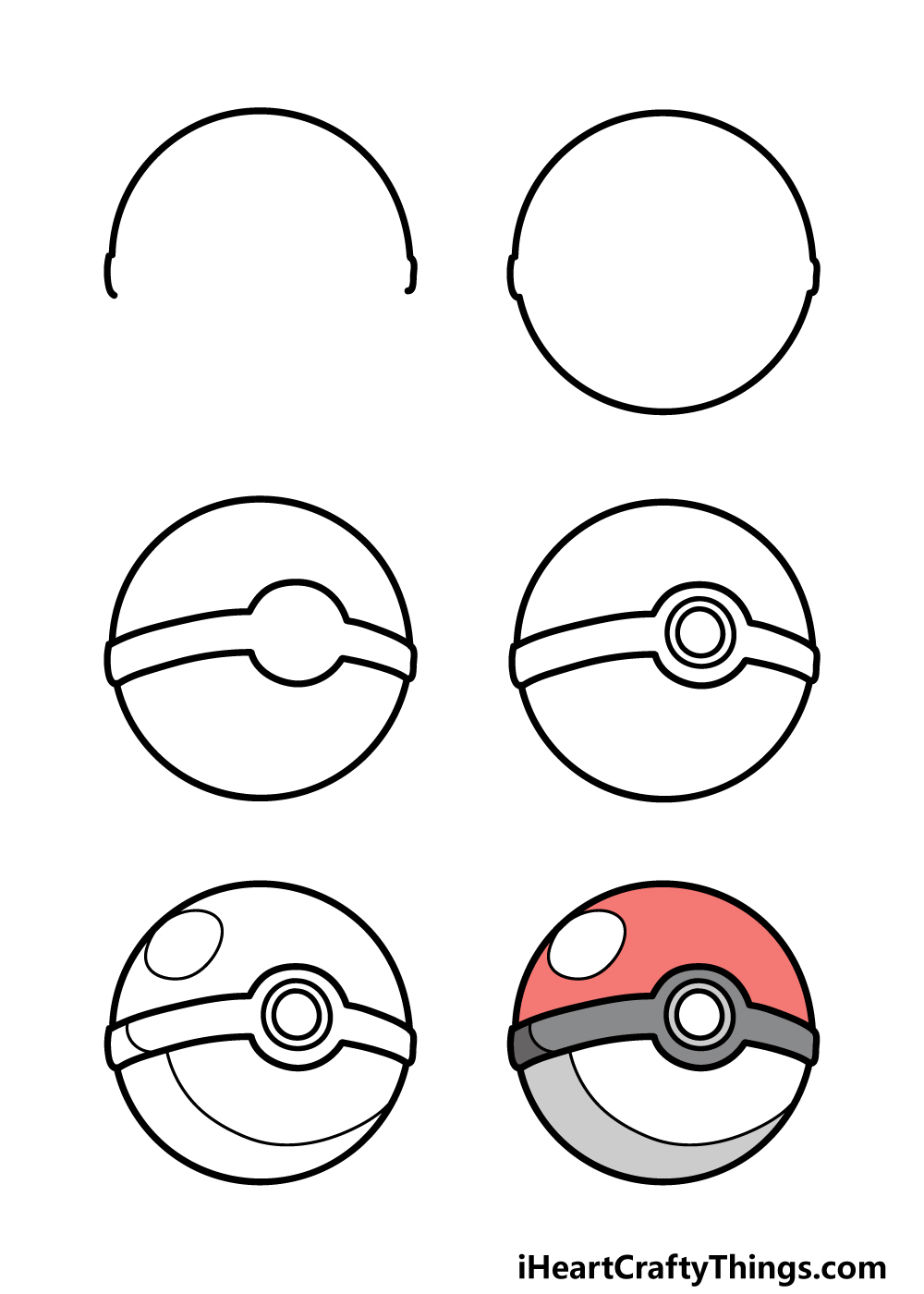 how to draw pokeball in 6 steps