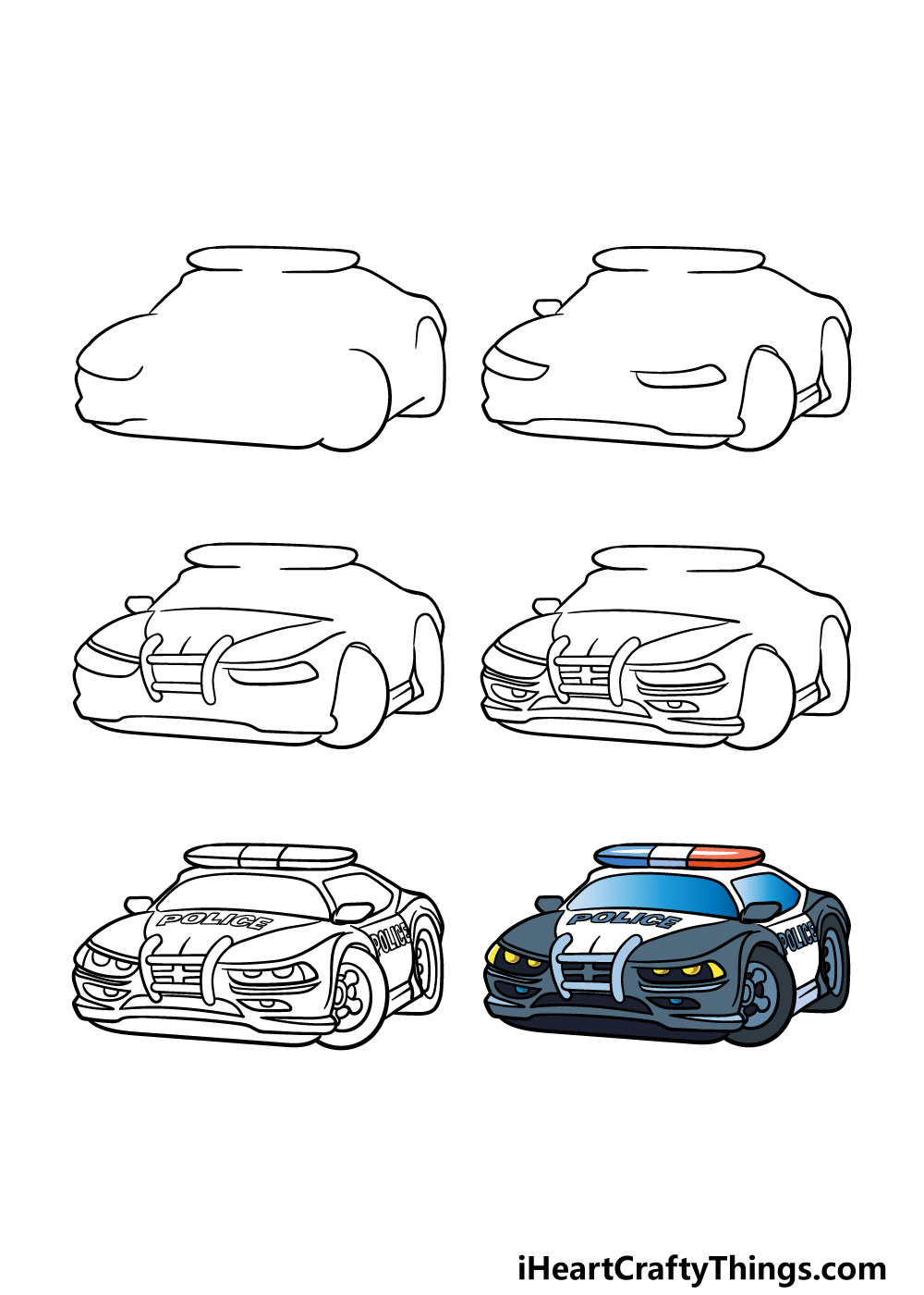 how to draw a police car in 6 steps