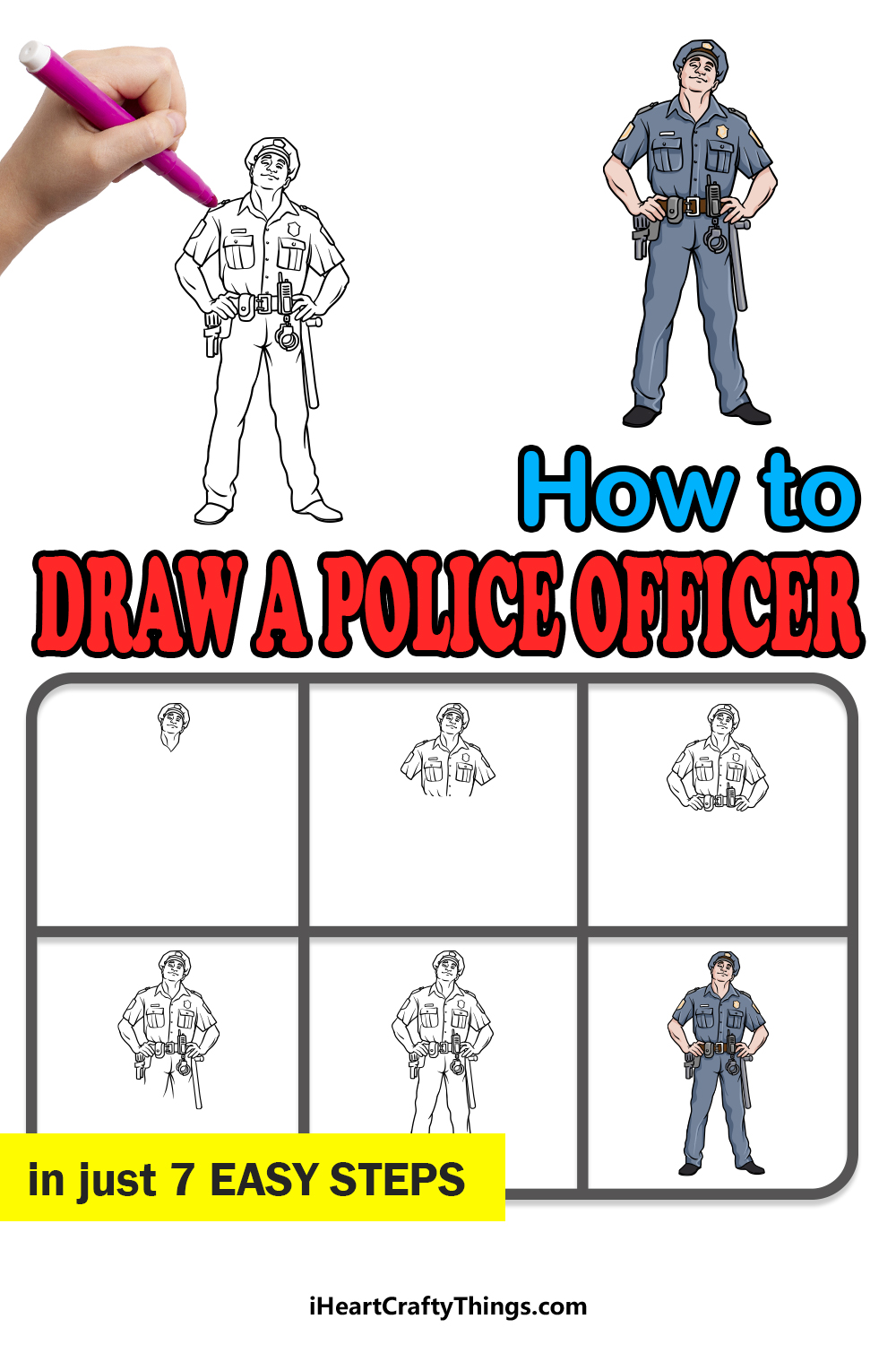 how to draw a police officer in 7 easy steps