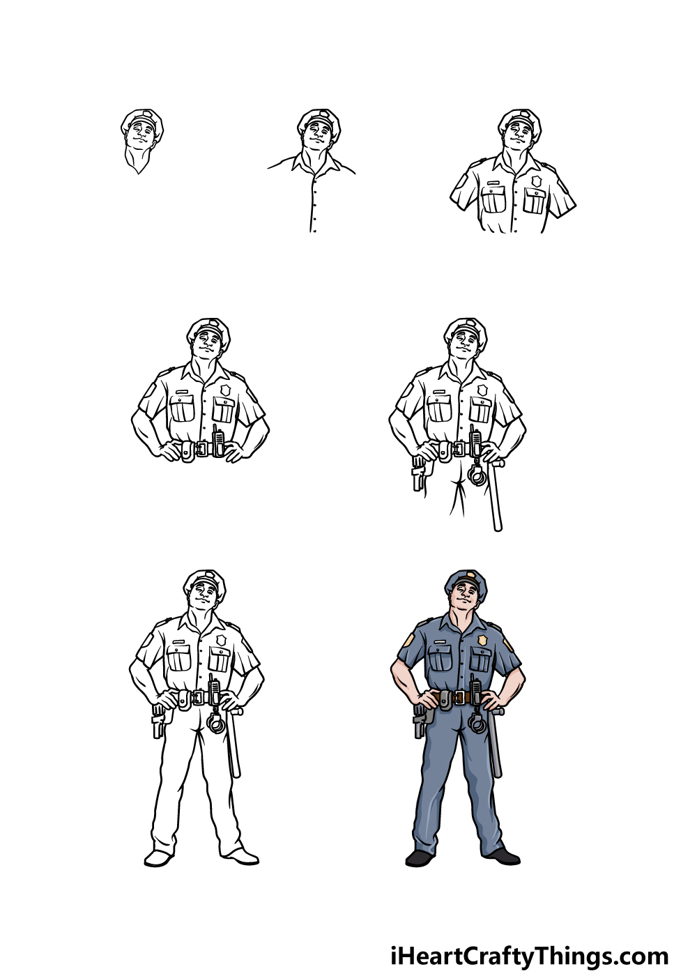 how to draw a police officer in 7 steps