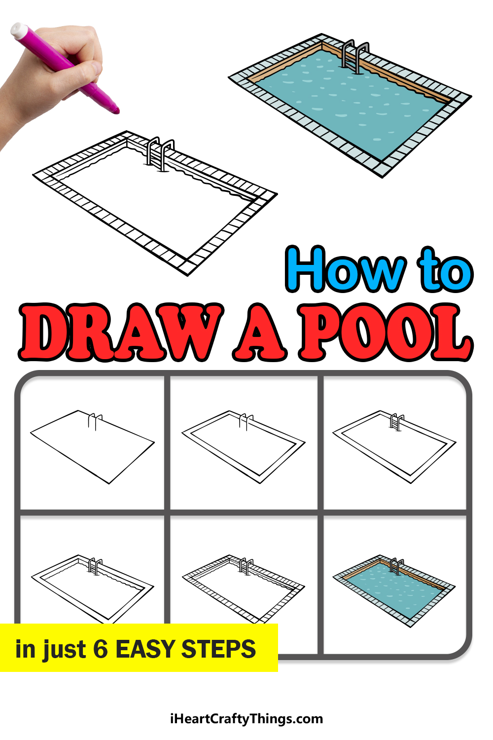 how to draw a pool in 6 easy steps
