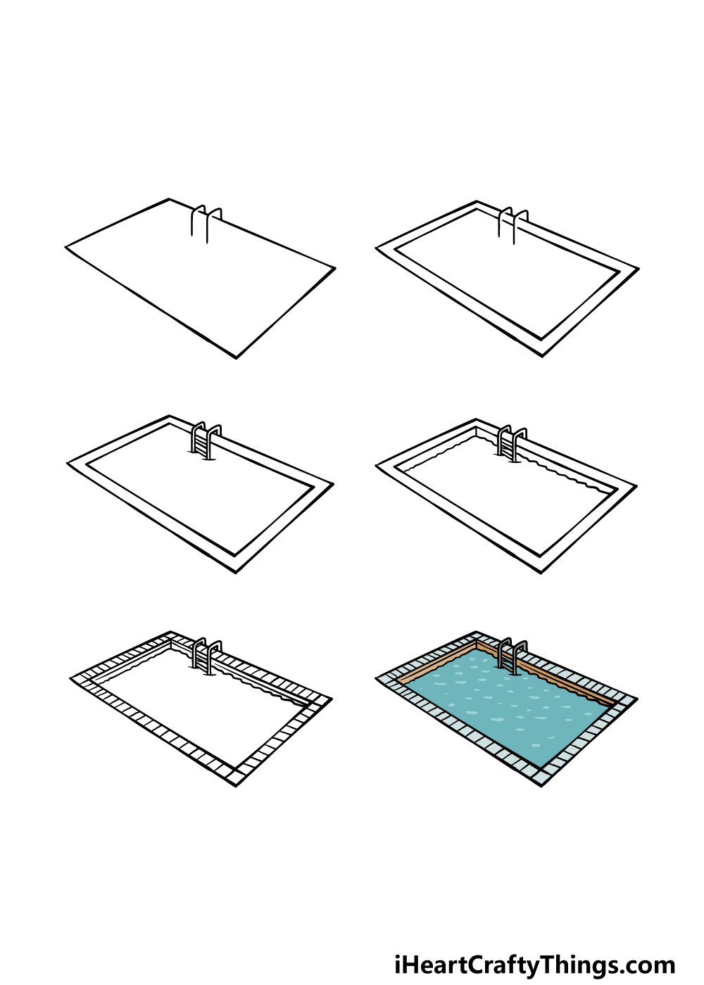 how to draw a pool in 6 steps