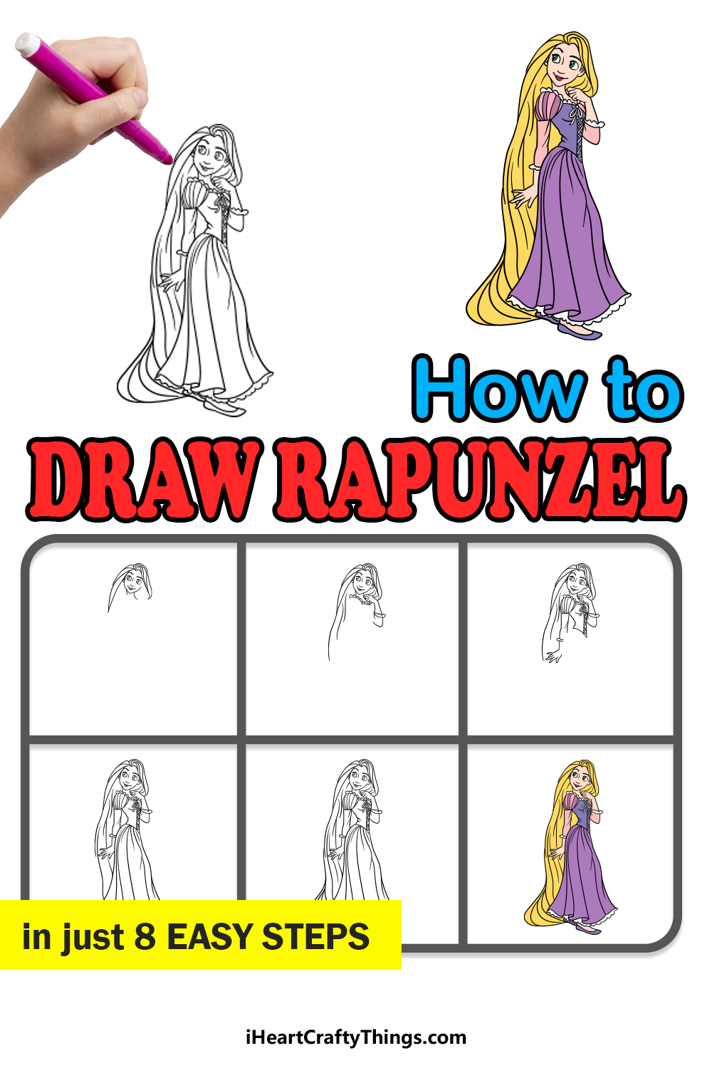 how to draw Rapunzel in 8 easy steps