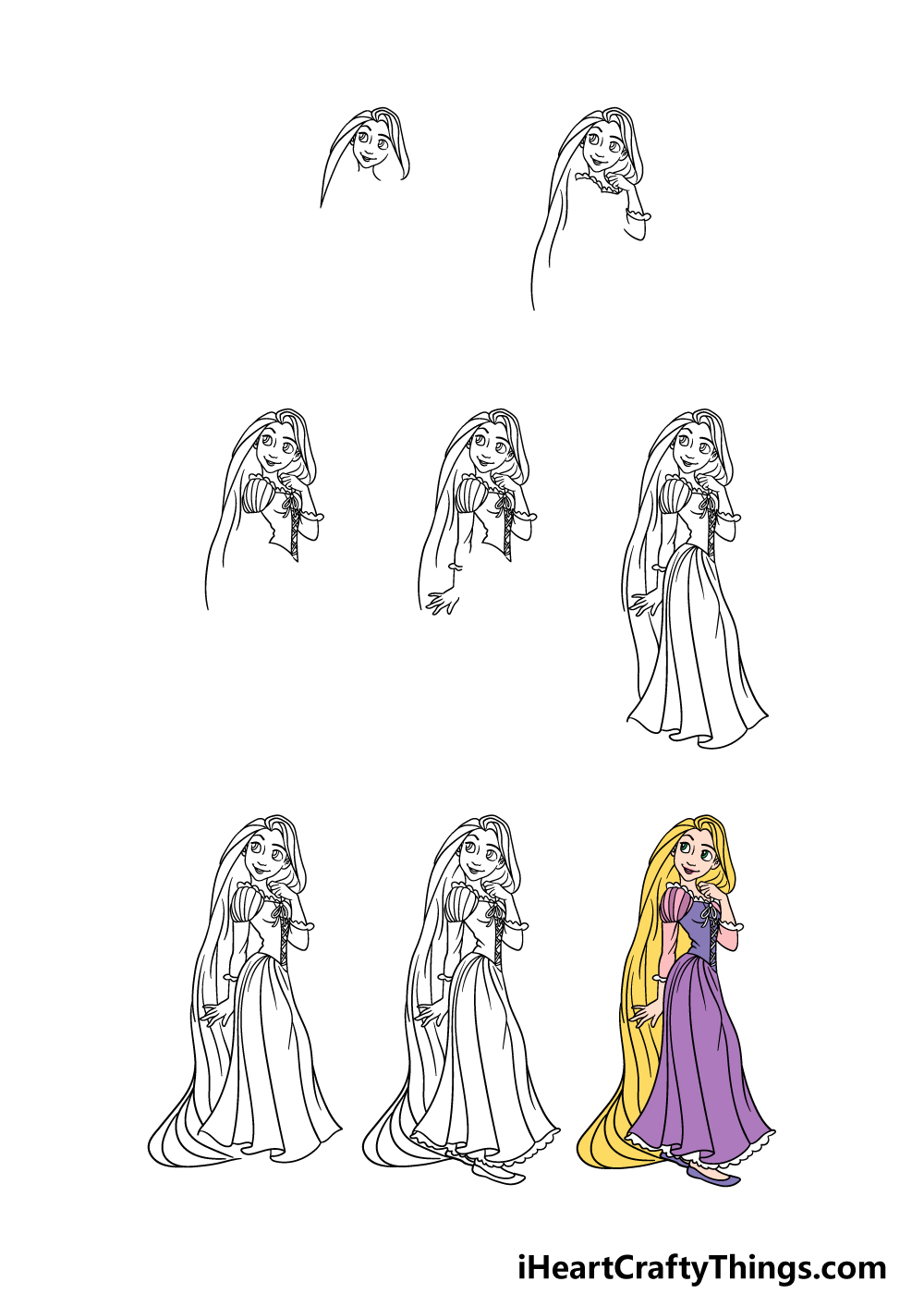 how to draw Rapunzel in 8 steps