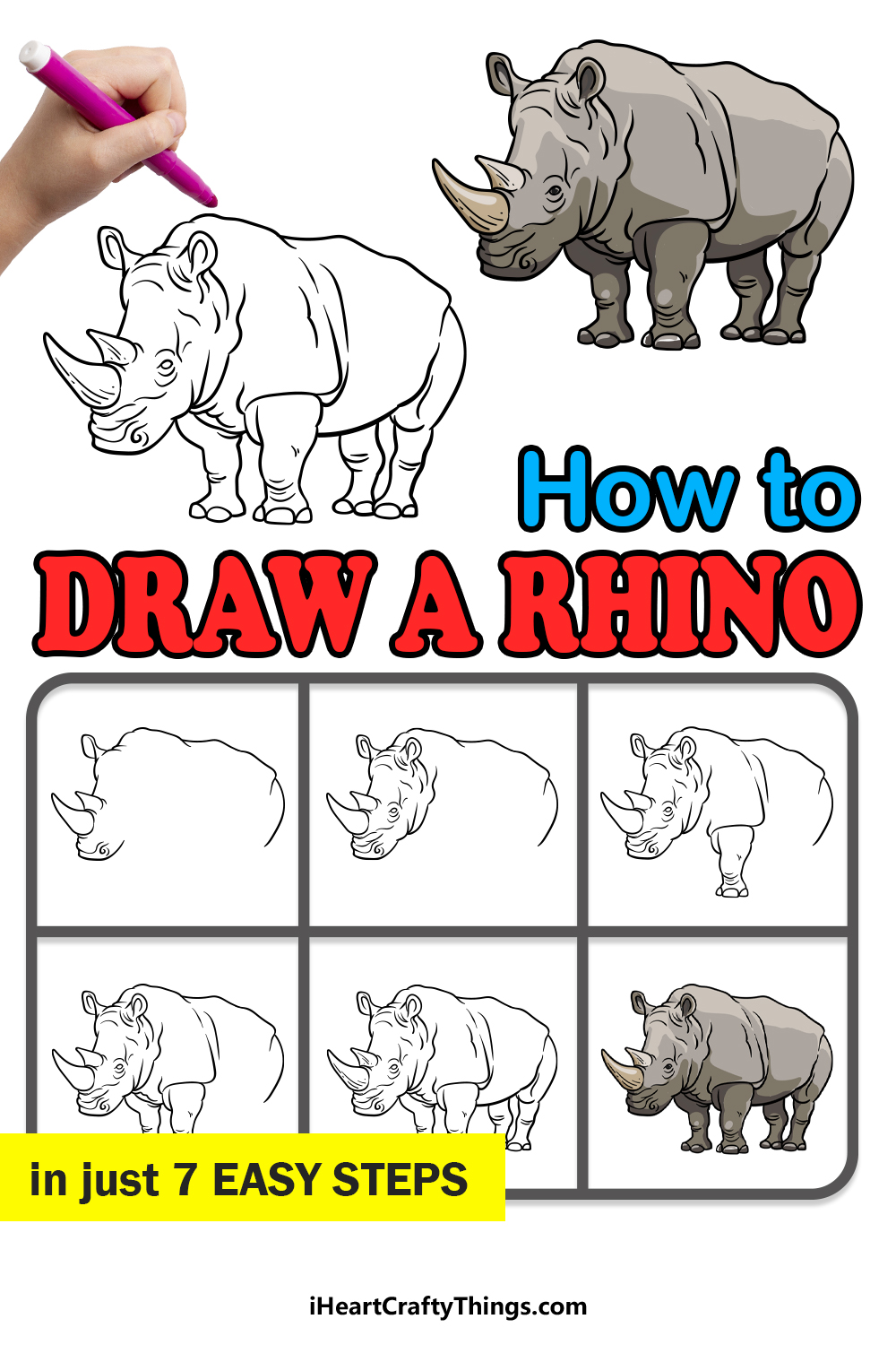 how to draw a rhino in 7 easy steps