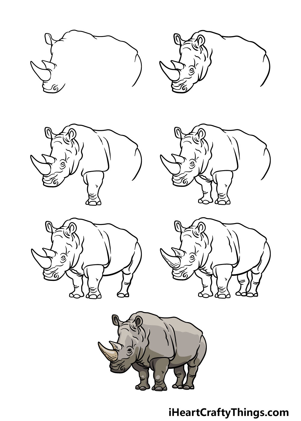 how to draw a rhino in 7 steps