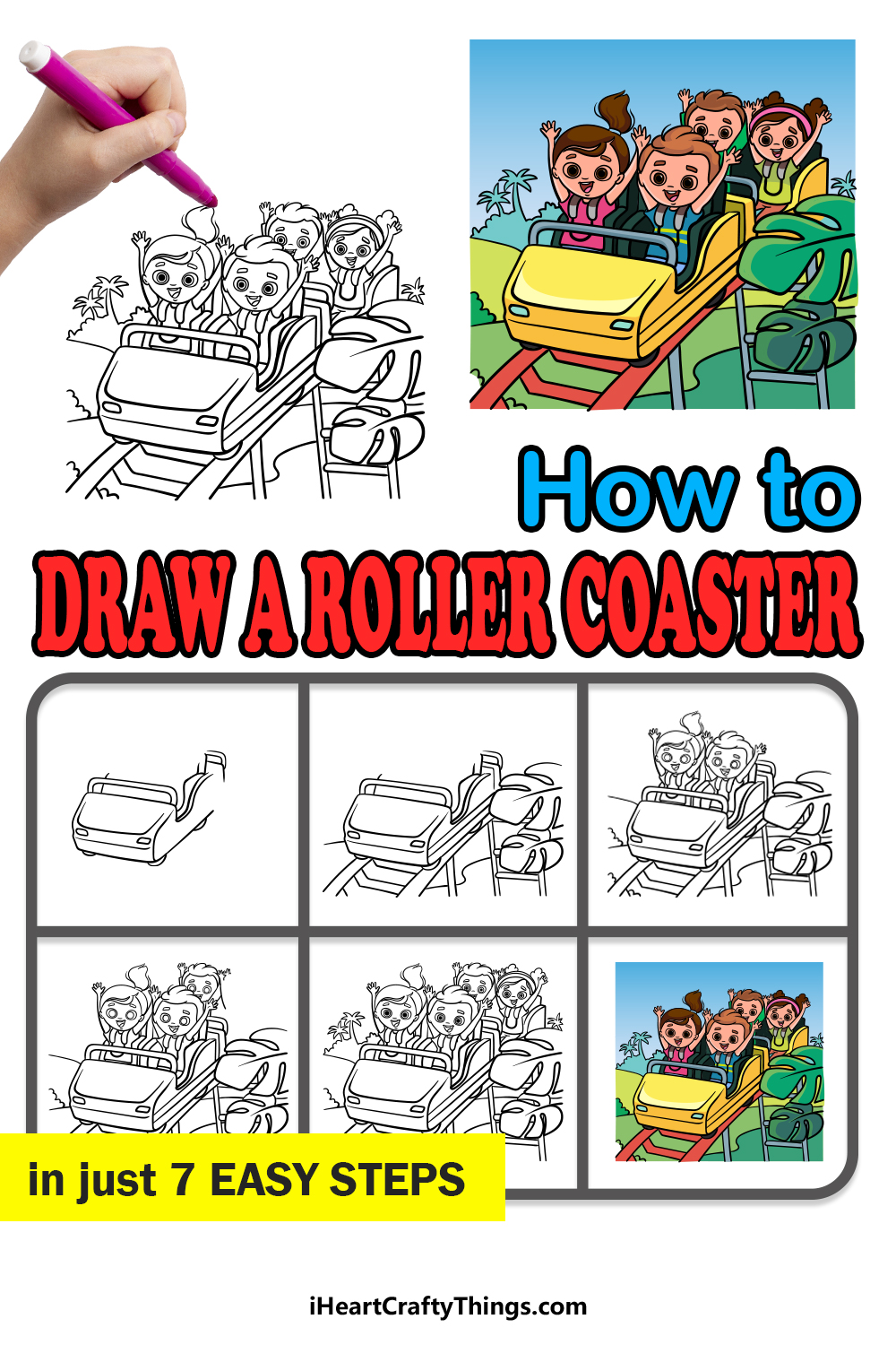 how to draw a roller coaster in 7 easy steps