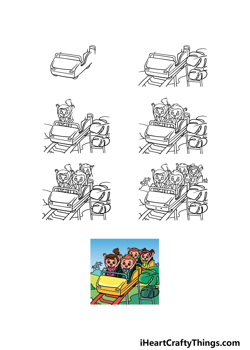 how to draw a roller coaster in 7 steps