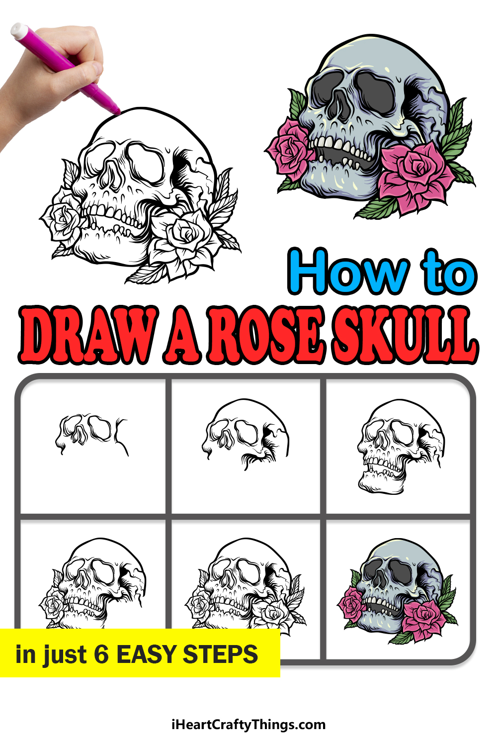 how to draw A Rose Skull in 6 easy steps