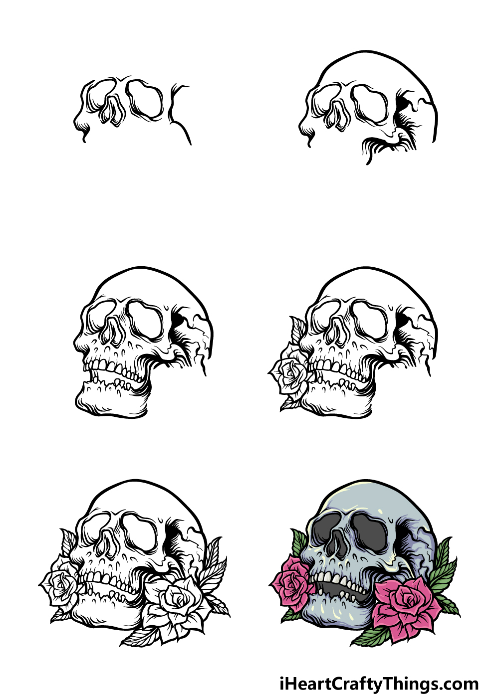 How To Draw A Rose Skull in 6 steps